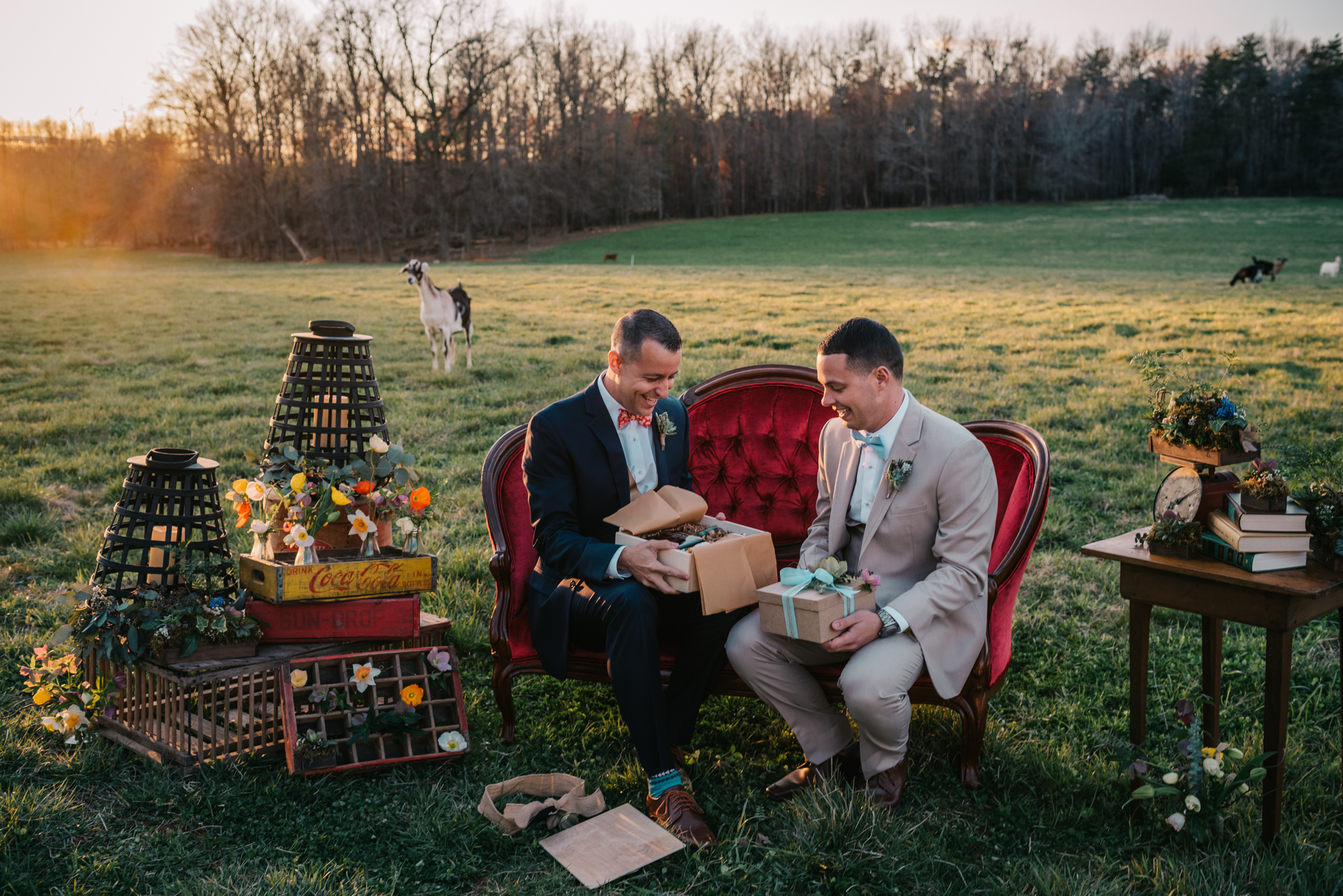 The grooms sit on the red couch and give each other gifts during the rustic styled engagement session with Rose Trail Images at Windy Hill Farm near Raleigh, NC.