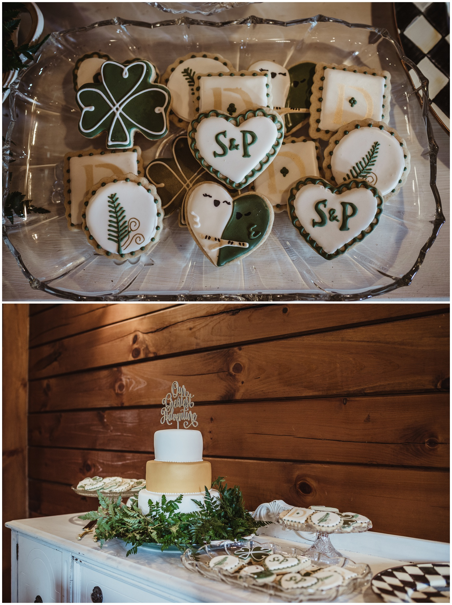 Decorated St. Patrick's Day cookies and the wedding cake are decorated in greenery in the Barn at Valhalla in Chapel Hill, images by Rose Trail Images.