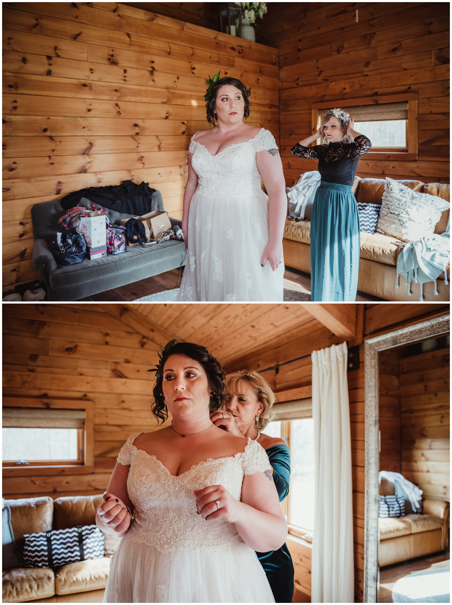 The bride getting ready before her wedding day with her bridesmaids and Mother at the Barn at Valhalla in Chapel Hill, taken by Rose Trail Images.