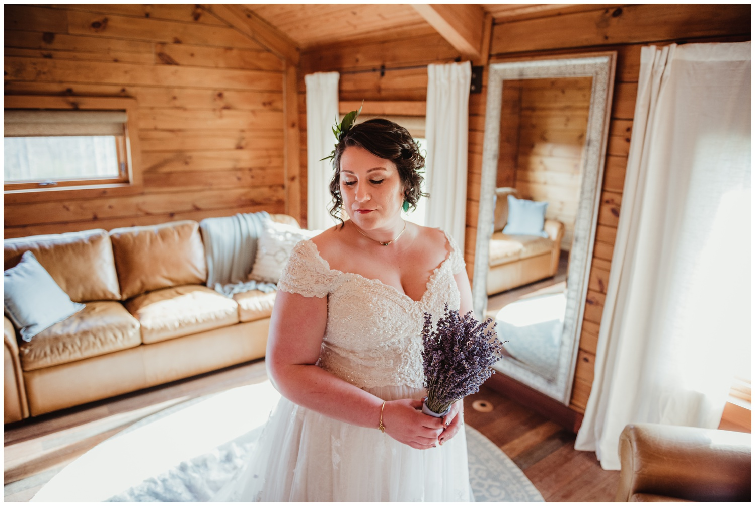 The bride posing in her bridal suite before her wedding day at the Barn at Valhalla in Chapel Hill, taken by Rose Trail Images.