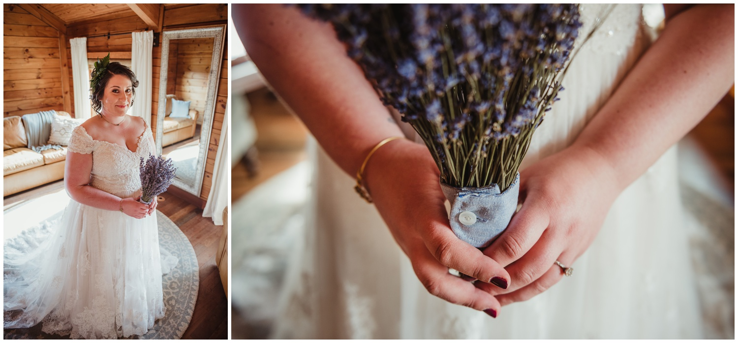 The bride posing with her lavender bridal bouquet before her wedding day at the Barn at Valhalla in Chapel Hill, taken by Rose Trail Images.