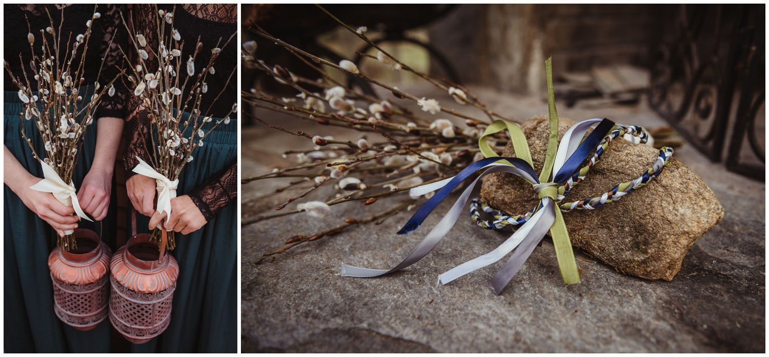 The bridesmaids carried bouquets of pussy willows and copper lanterns, while the hand-fasting ribbons were braided colors of white, blue, and green at the Barn at Valhalla in Chapel Hill, taken by Rose Trail Images.