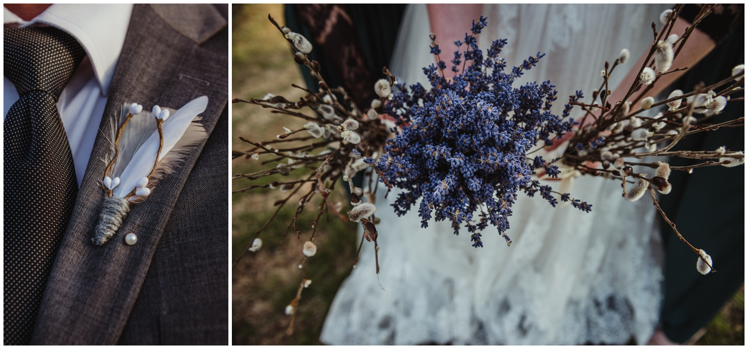 The groom's boutonniere was made of yarn and feathers, while the bridesmaids carried pussy willows and the bride carried dried lavender at the Barn at Valhalla in Chapel Hill, taken by Rose Trail Images.