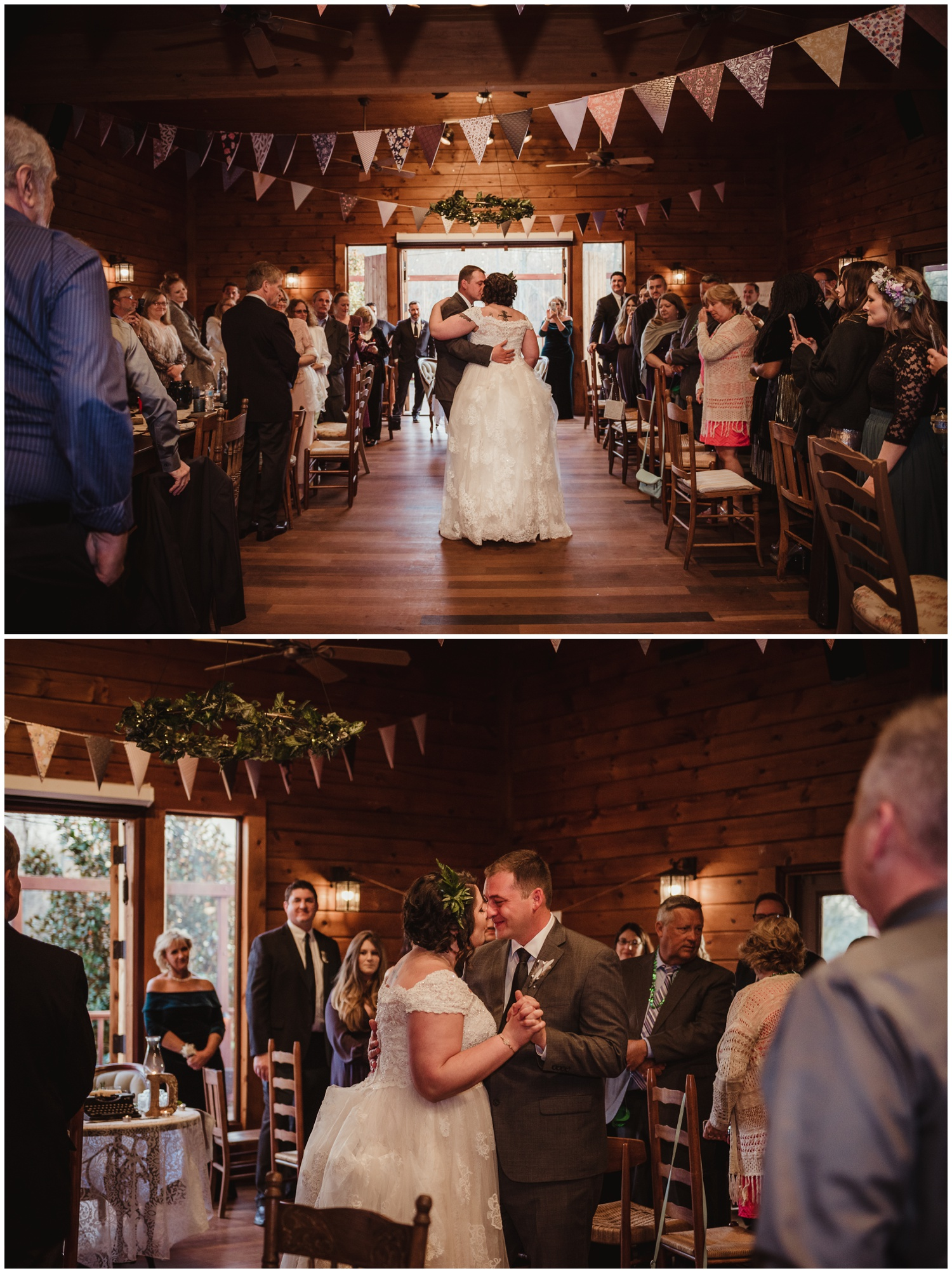 The bride and groom have their first dance on their wedding day at the Barn at Valhalla in Chapel Hill, taken by Rose Trail Images.