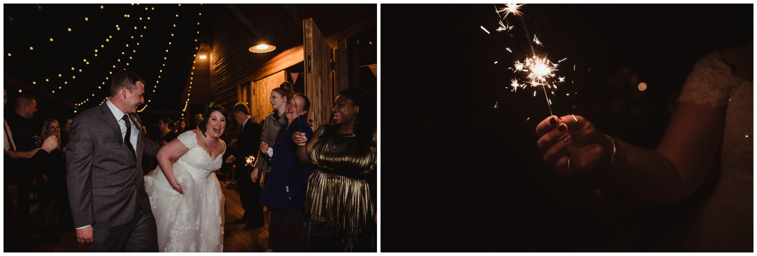 The bride and groom and sparkler on their wedding day at the Barn at Valhalla in Chapel Hill, taken by Rose Trail Images.