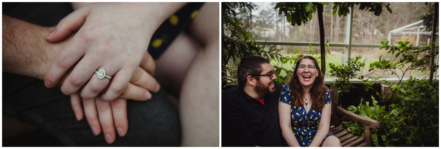 The bride-to-be shows off her beautiful diamond engagement ring during their engagement photo session with Rose Trail Images at the Butterfly House in Durham.