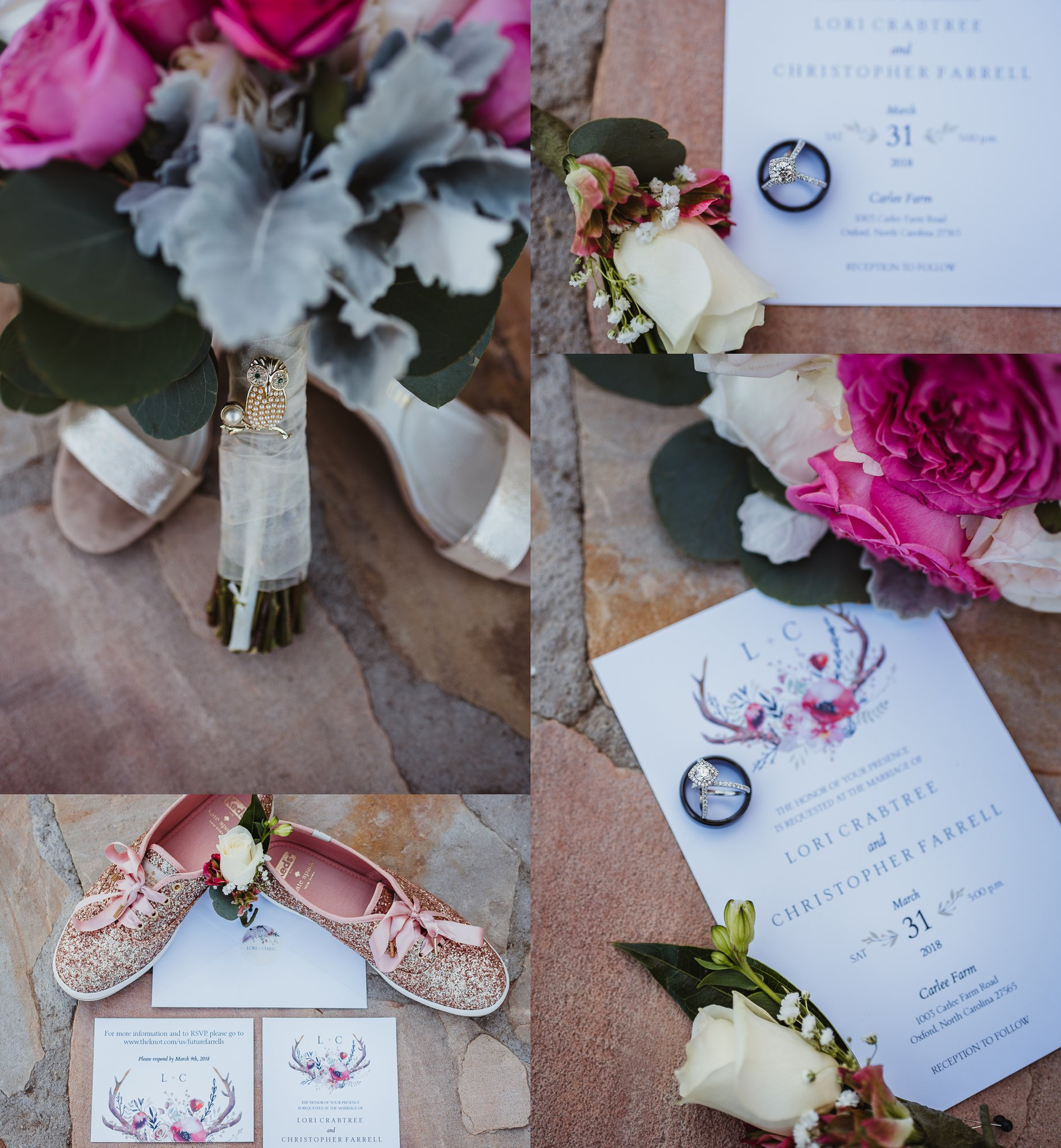 Wedding details, taken by Rose Trail Images at Carlee Farms in Oxford, NC, included watercolor invitations, pink and white flowers, her Grandmother's owl brooch, and bright pink sparkly tennis shoes!