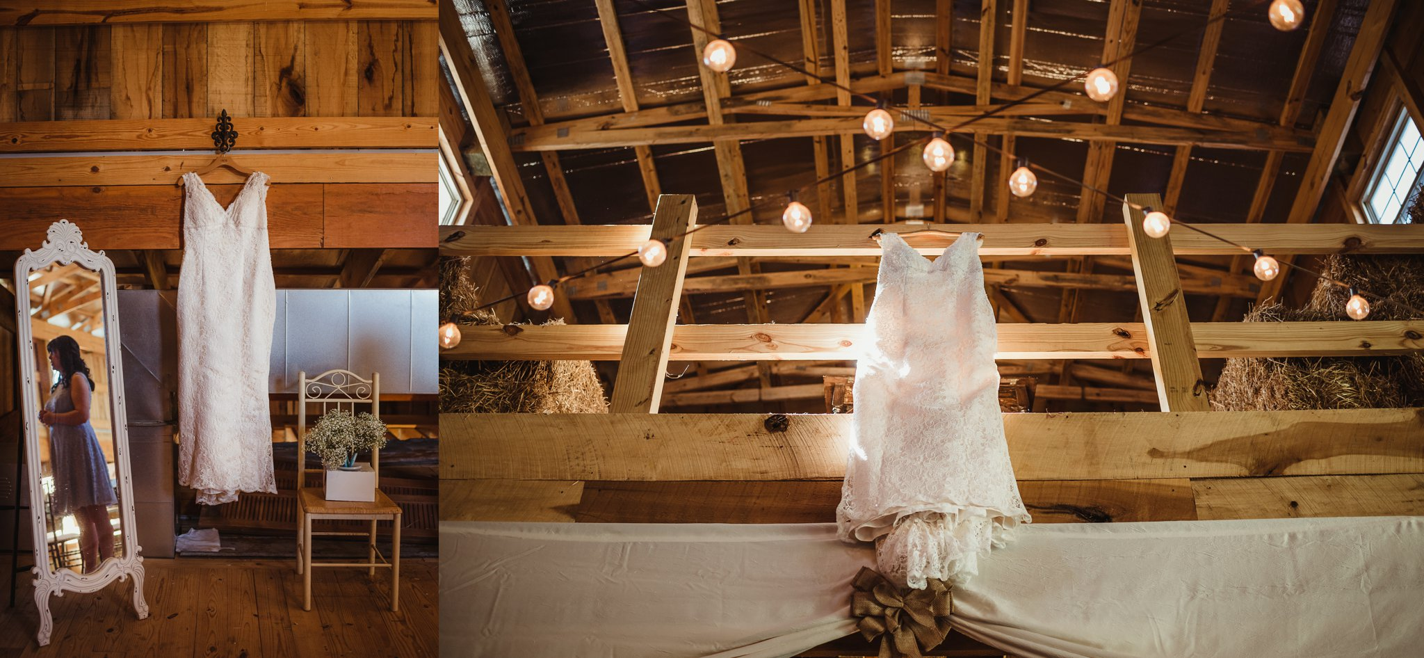 The wedding dress is hung in the barn at Carlee Farm, in Oxford, NC, taken by Rose Trail Images.