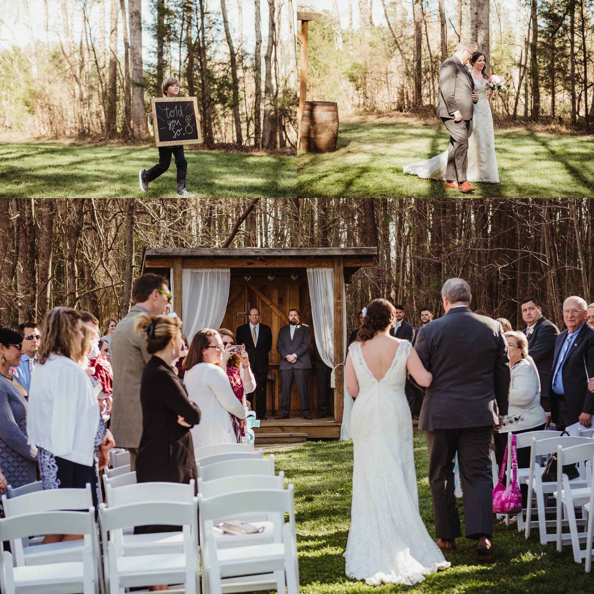 The bride and groom walk down the aisle at Carlee Farms in Oxford, NC, taken by Rose Trail Images.