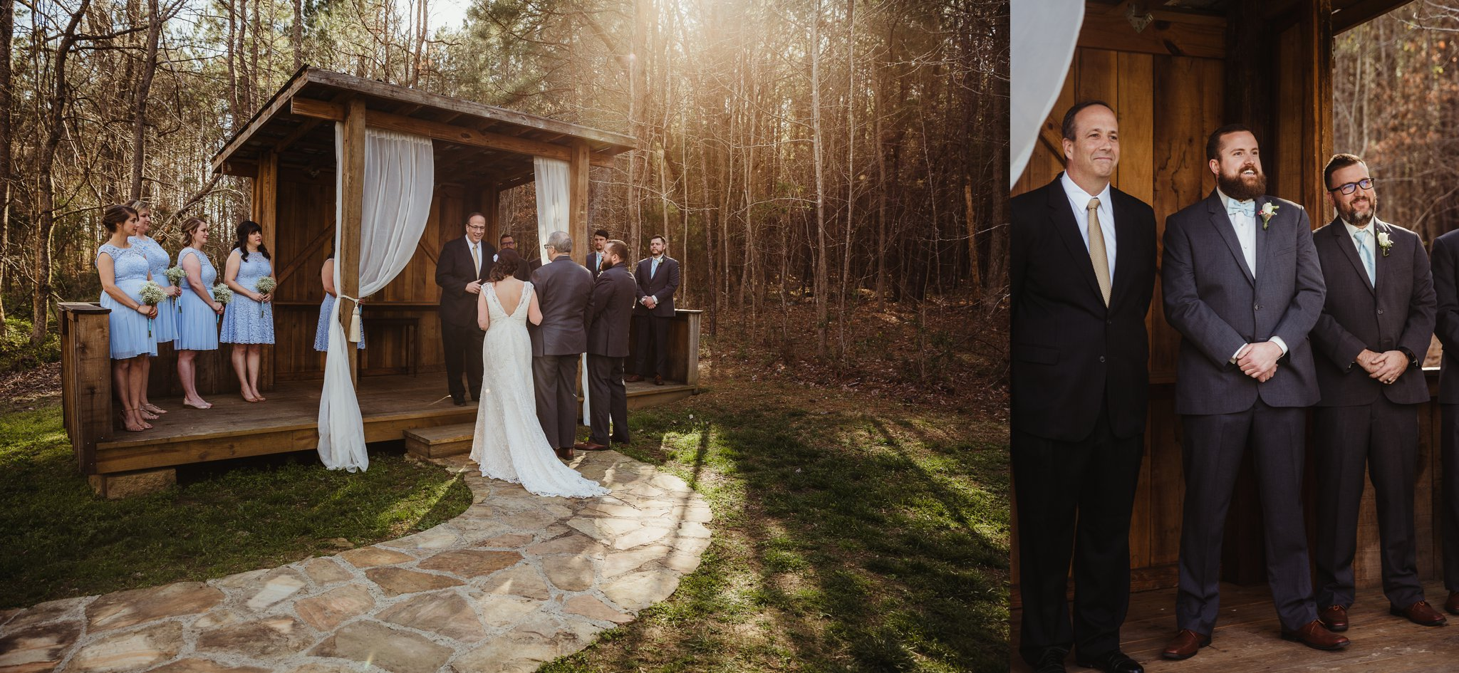 The bride and groom arrive at their ceremony spot at Carlee Farms in Oxford, NC, taken by Rose Trail Images.