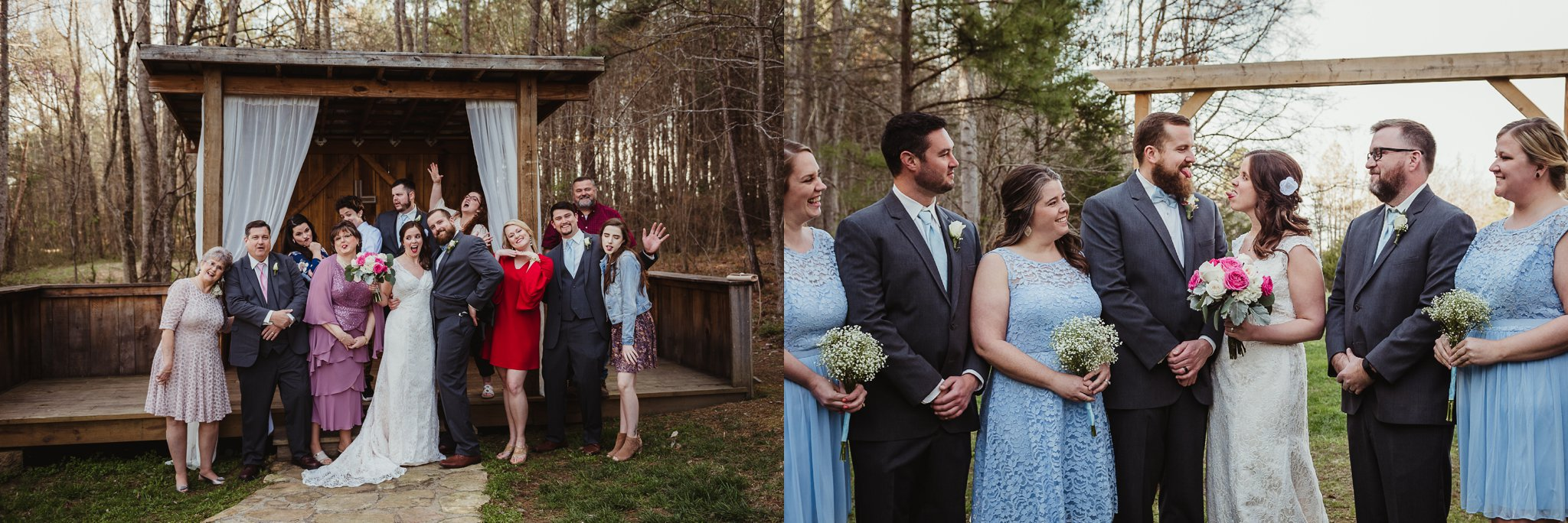 It's always fun to be silly and have a good time during wedding portraits! Images taken by Rose Trail Images at Carlee Farms in Oxford, NC.