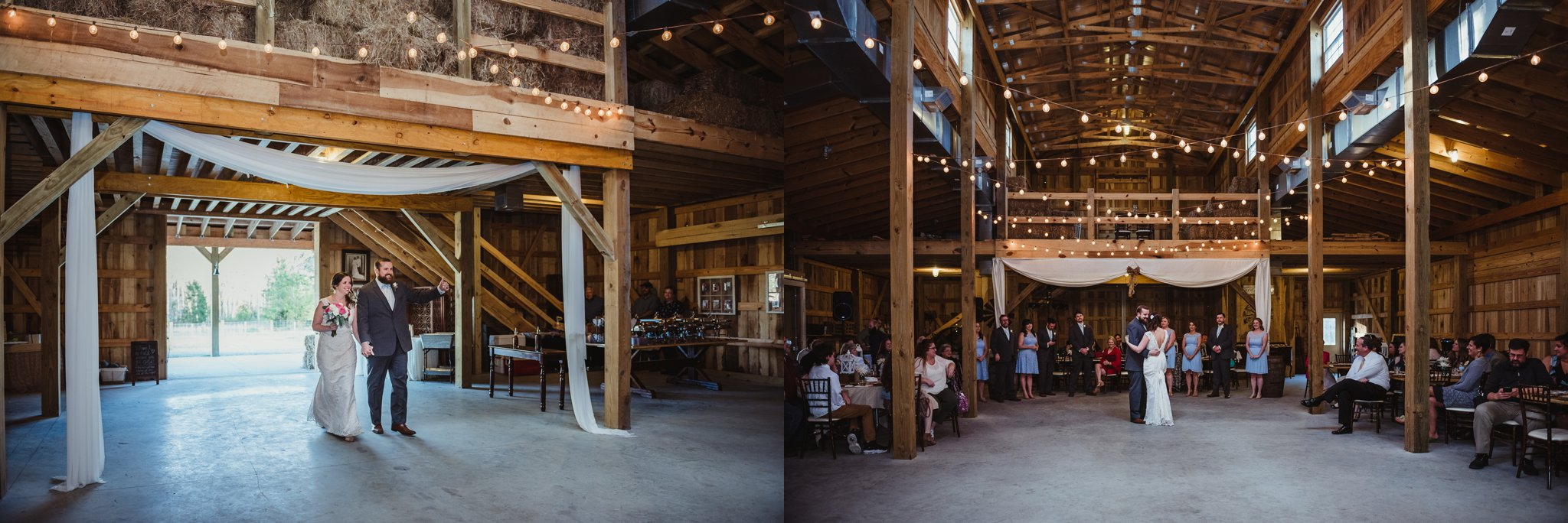 The bride and groom enter the barn for their wedding reception at Carlee Farm in Oxford, NC, taken by Rose Trail Images.
