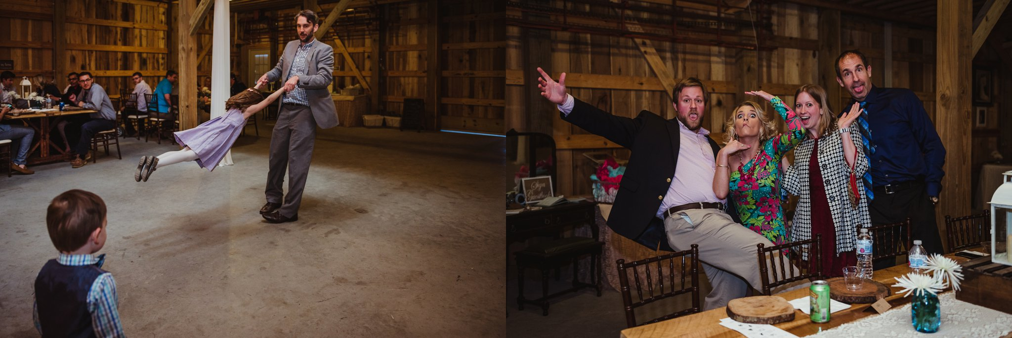 Guests are being silly at the wedding reception at Carlee Farm in Oxford, NC, taken by Rose Trail Images.