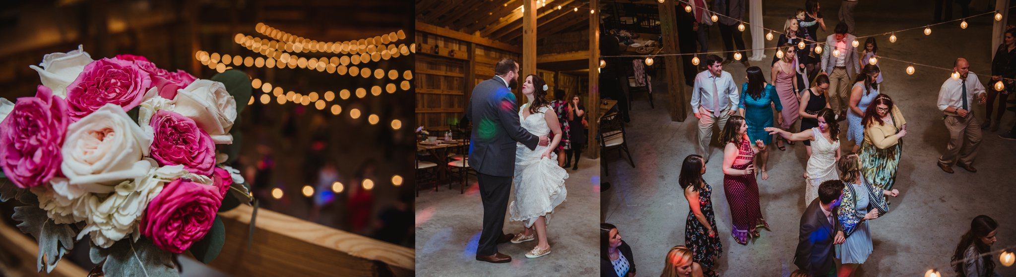 The bride and groom, along with their guests, are dancing at their wedding reception at Carlee Farm in Oxford, NC, taken by Rose Trail Images.