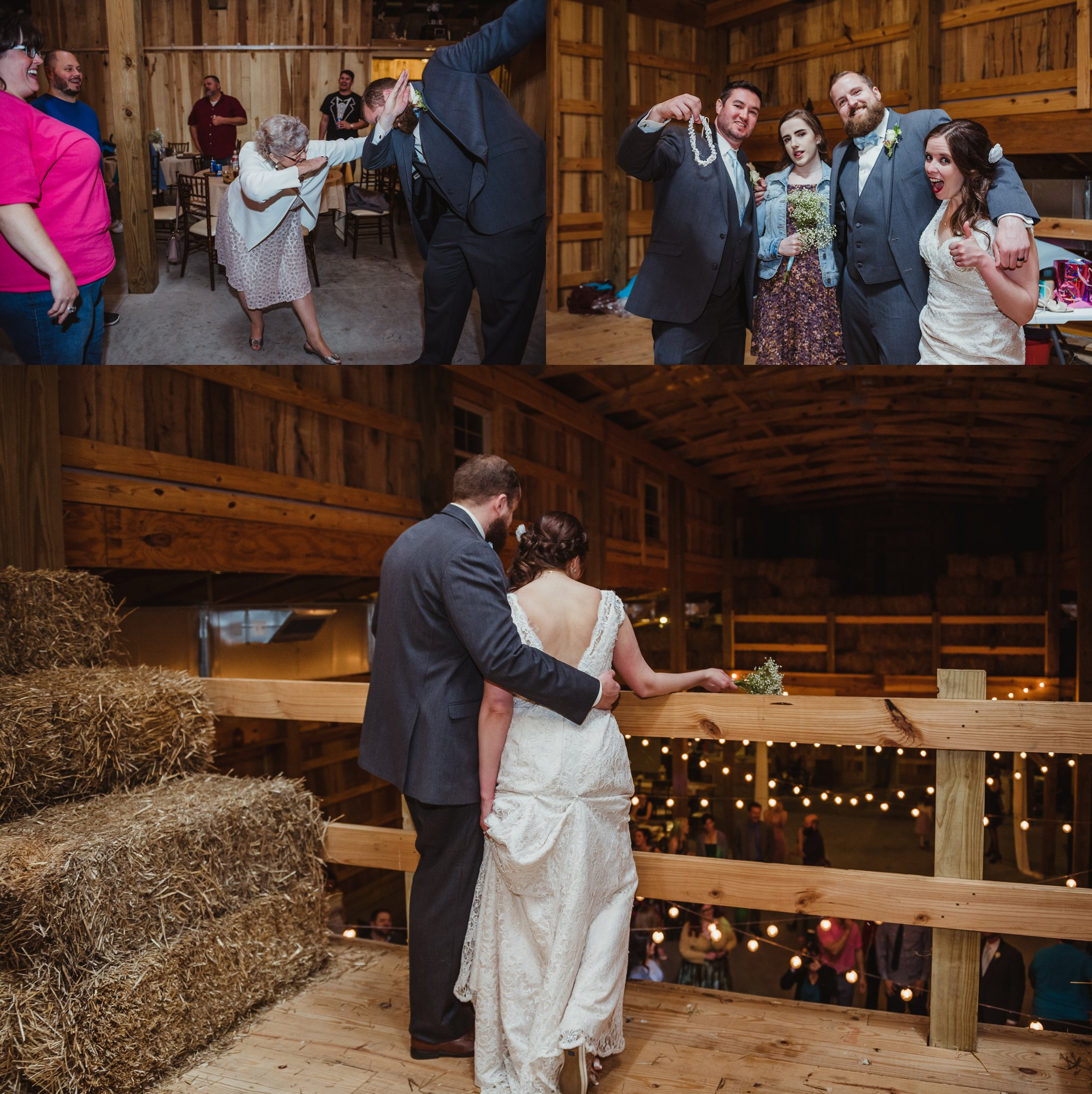 The groom dabs with his Grandma while the bride and groom pose with the two guests that caught the bouquet and the garter during their wedding reception at Carlee Farm in Oxford, NC, taken by Rose Trail Images.