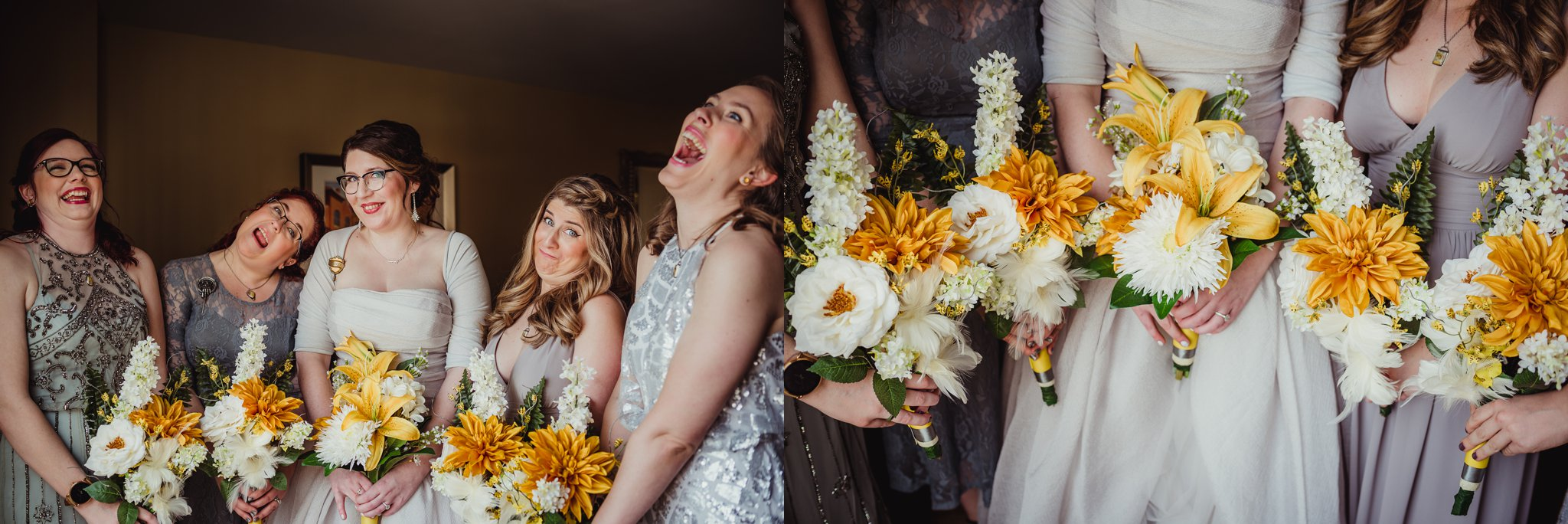 The bride and her bridesmaids getting ready in downtown Raleigh before her wedding day, with Rose Trail Images.