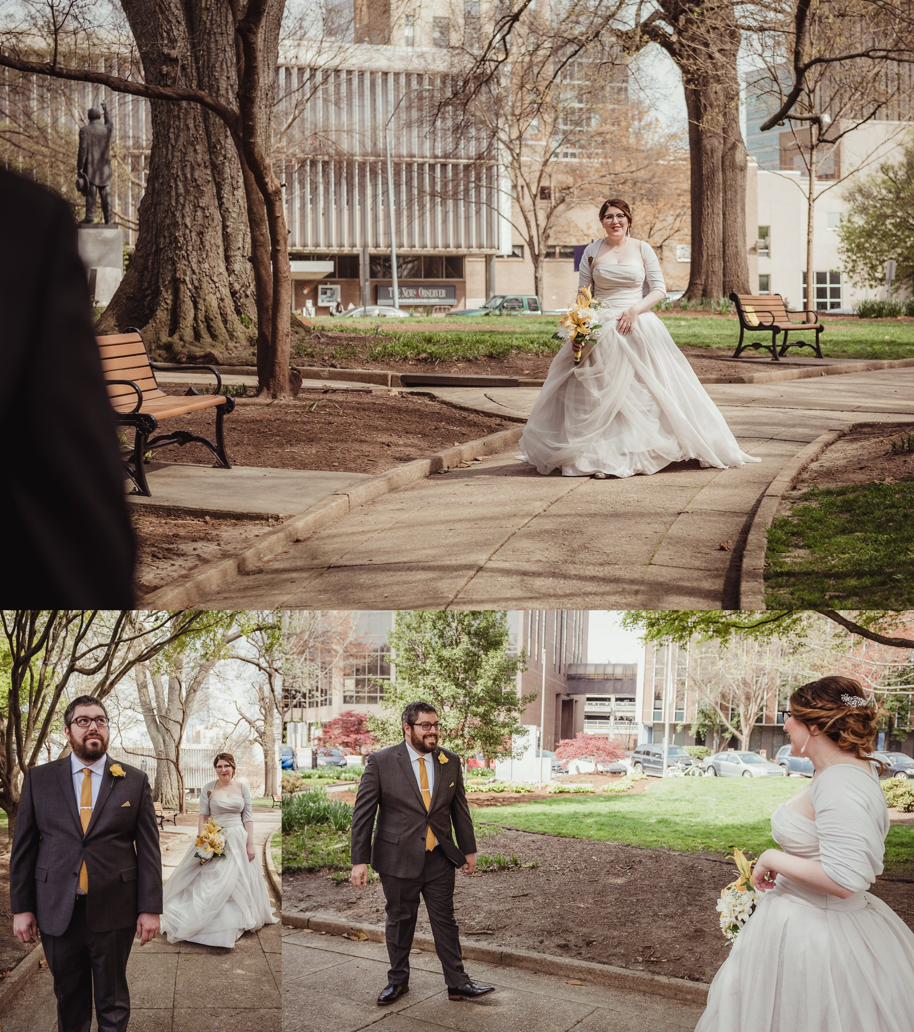 The bride and groom have their first look in the park before their wedding day in downtown Raleigh, picture by Rose Trail Images.