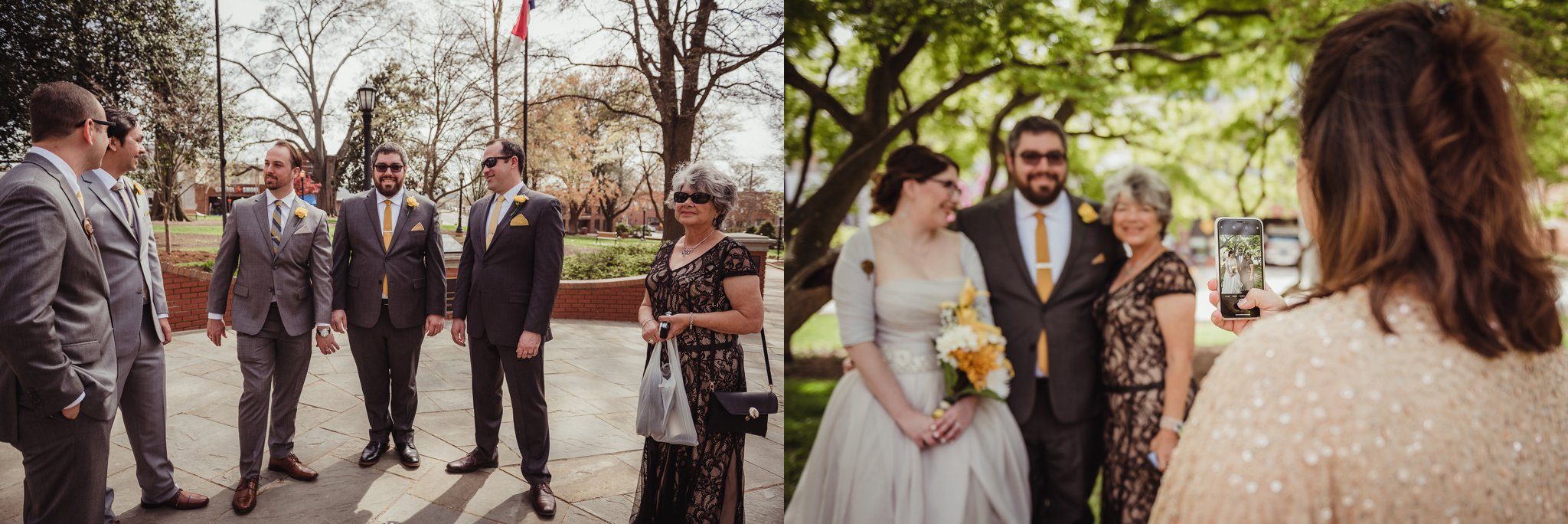 The groom and his friends and family before his wedding day in downtown Raleigh, picture by Rose Trail Images.