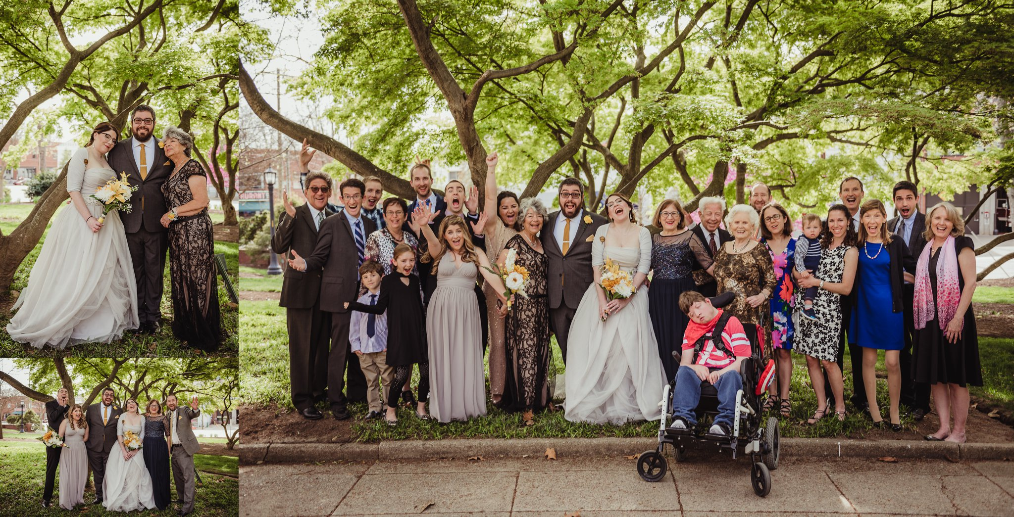 The bride and groom pose with family in the park before their wedding day in downtown Raleigh, picture by Rose Trail Images.
