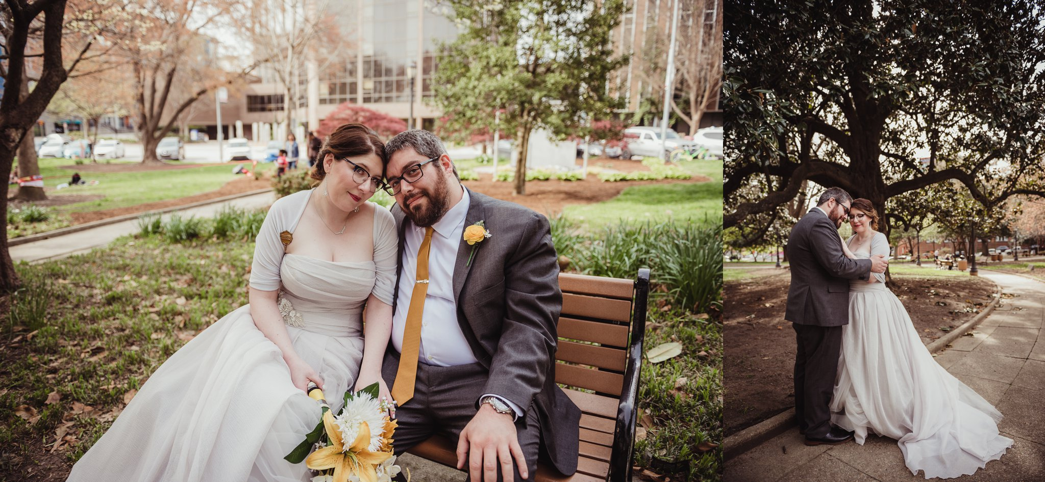 The bride and groom take a moment to be together in the park before their wedding day in downtown Raleigh, picture by Rose Trail Images.