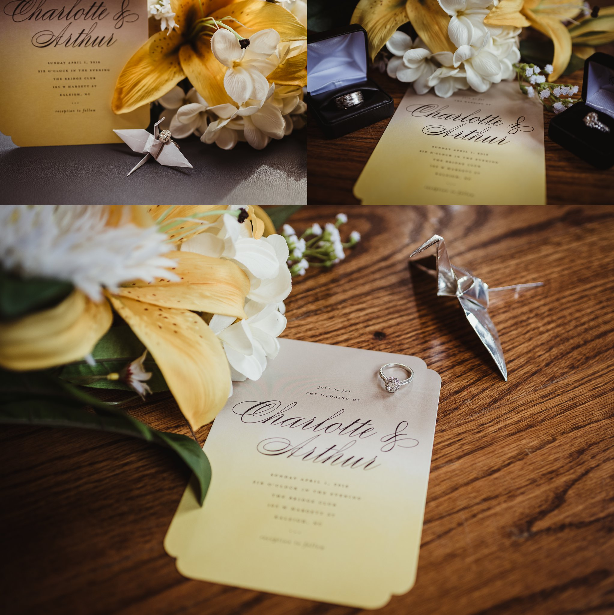 Wedding details such as the yellow and gray invitation, yellow flowers, silver cranes, and the wedding rings are important to capture during the wedding day, pictures by Rose Trail Images in Raleigh, NC.