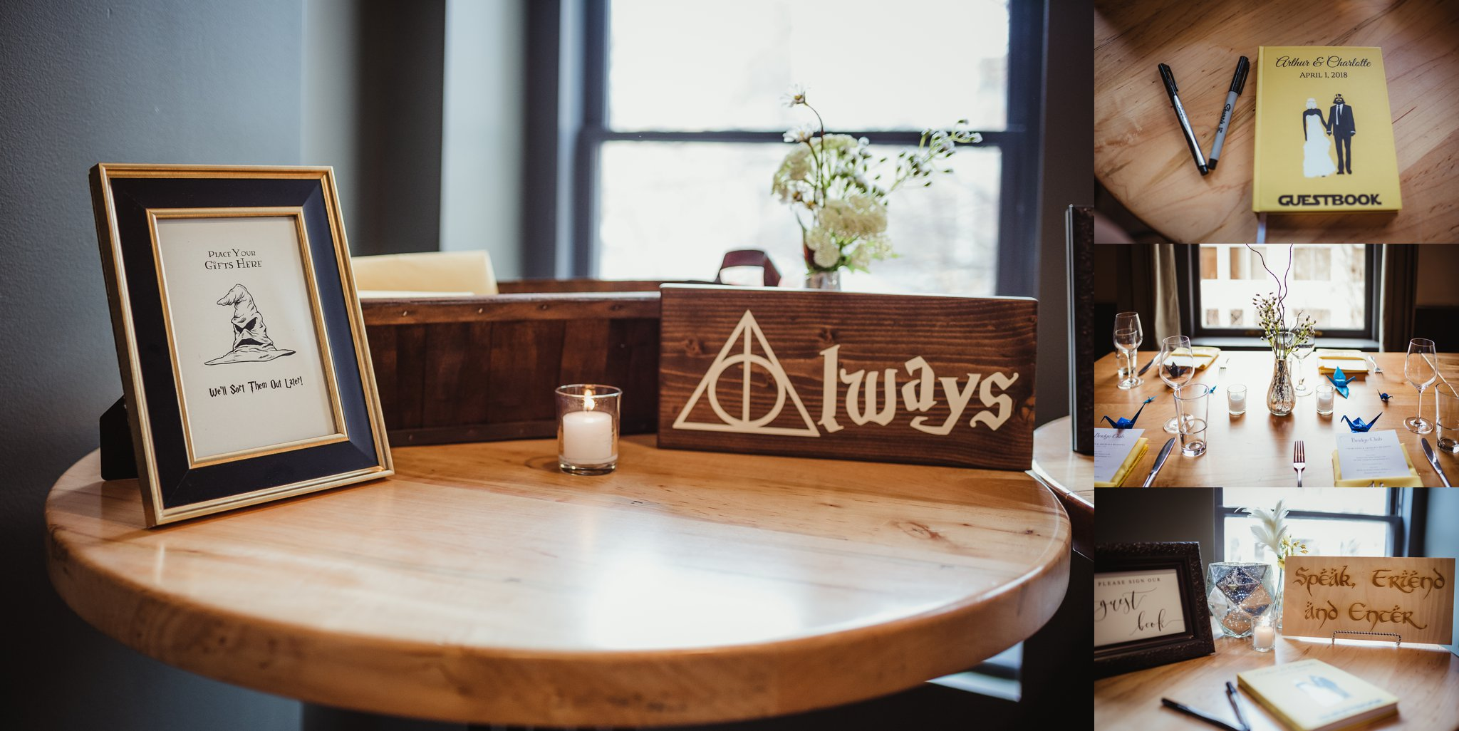 Wedding details featuring Harry Potter, Star Wars, and Lord of the Rings were everywhere at this Raleigh, NC wedding, pictures by Rose Trail Images.