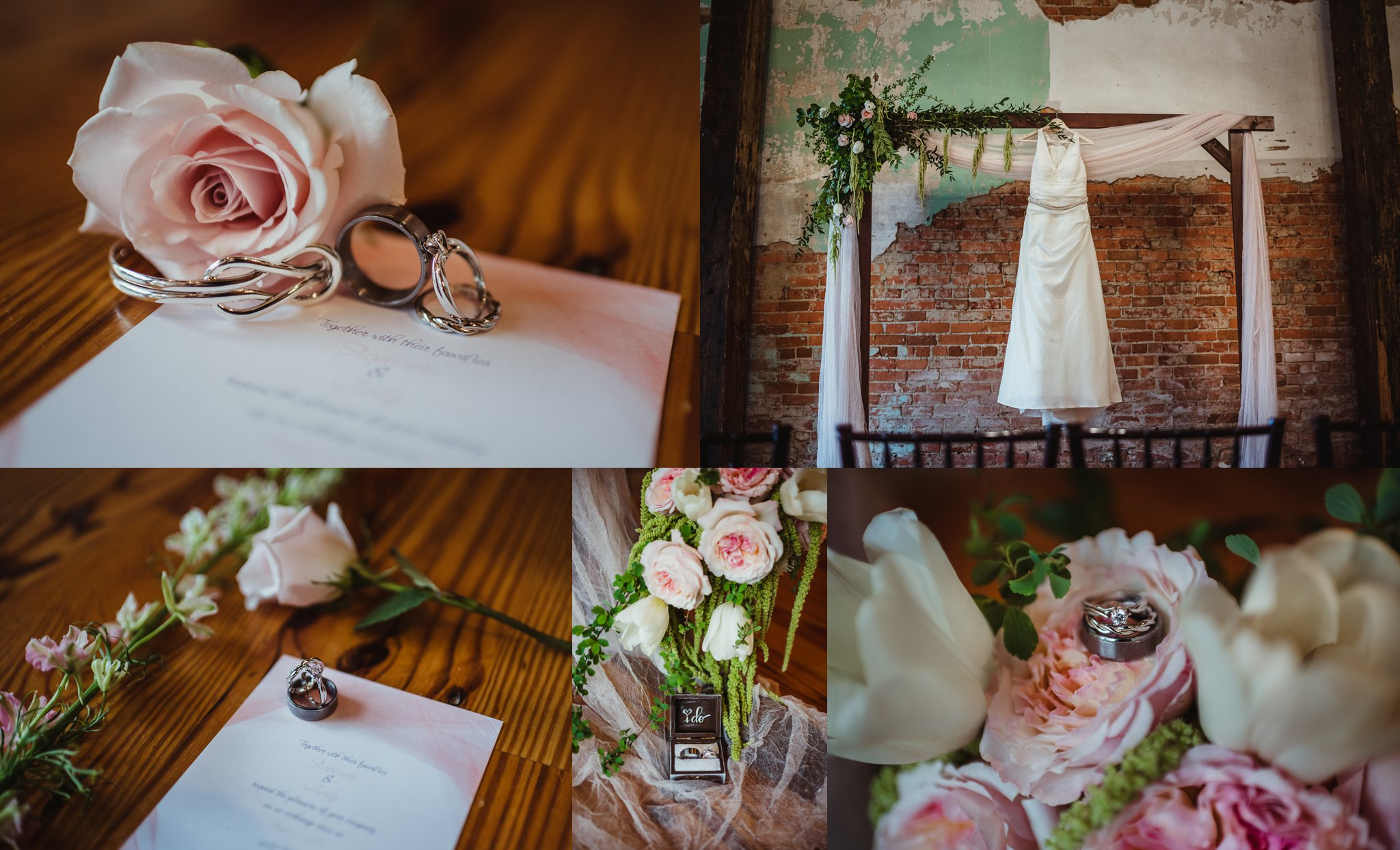 Wedding details taken by Rose Trail Images include the wedding rings, peach roses, their pink and white invitation, and the wedding dress hanging from the archway at Cross and Main.