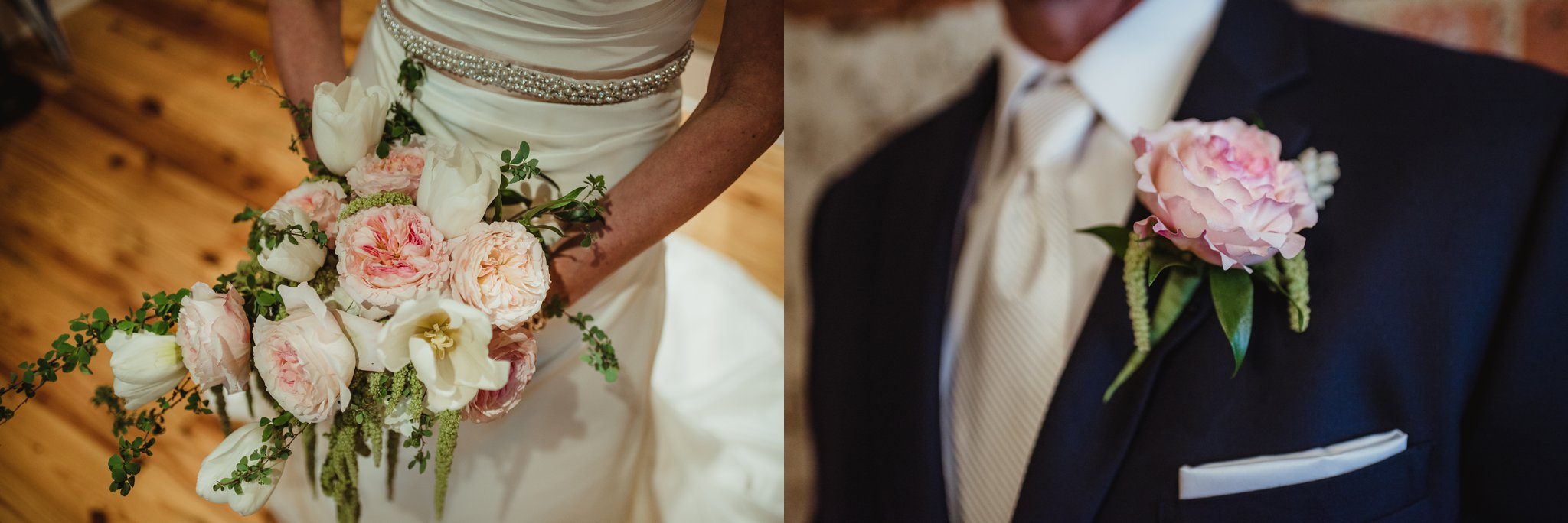The bride and groom show off their wedding flowers before their ceremony at Cross and Main, images taken by Rose Trail Images.