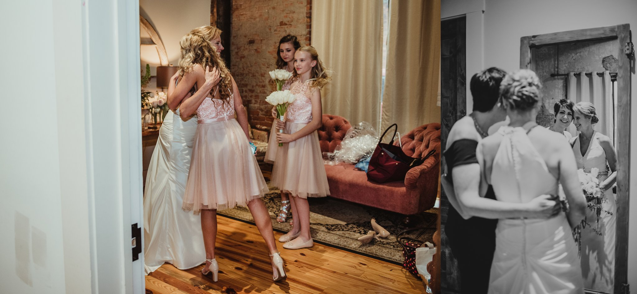 The bride got ready with her family before her wedding ceremony at Cross and Main, images taken by Rose Trail Images.