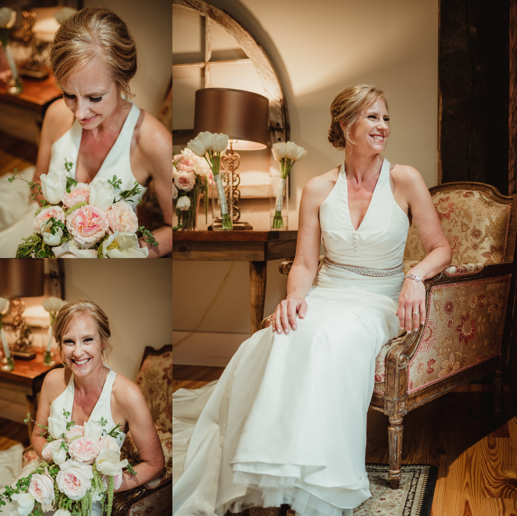 The bride got her portraits taken with Rose Trail Images before her wedding ceremony at Cross and Main in Youngsville, NC.