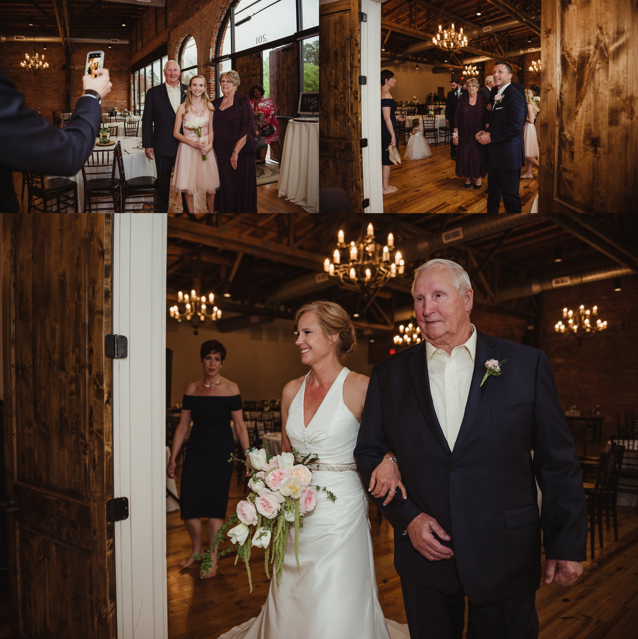 The bride and groom get ready to walk down the aisle at their wedding ceremony in Youngsville, NC, images taken by Rose Trail Images.