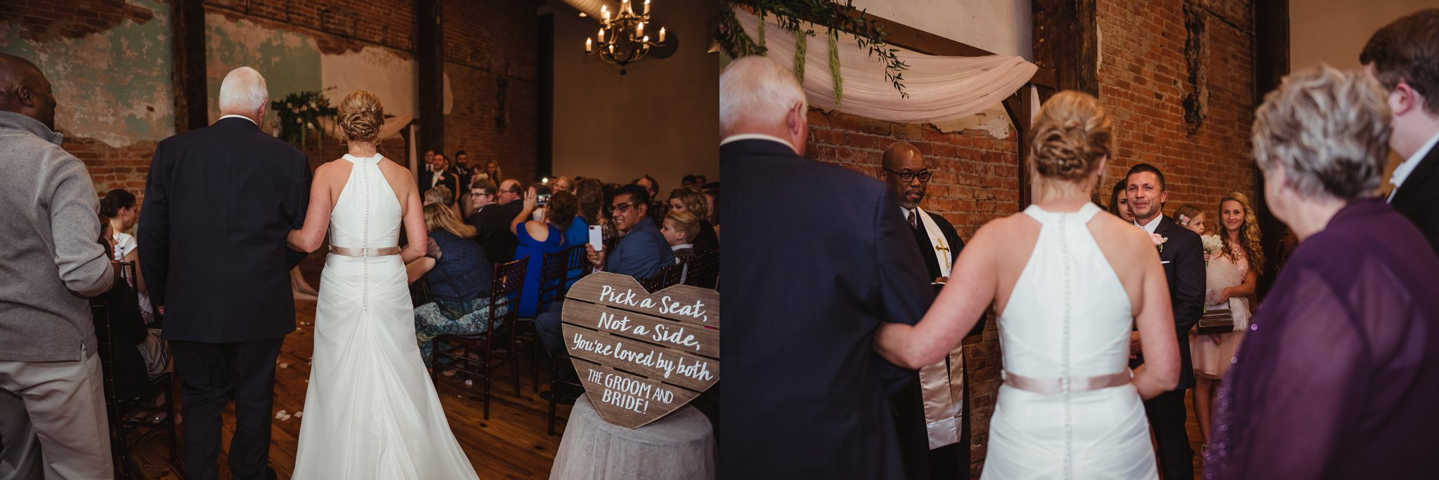 The bride walks down the aisle to her groom at their wedding ceremony in Youngsville, NC, images taken by Rose Trail Images.