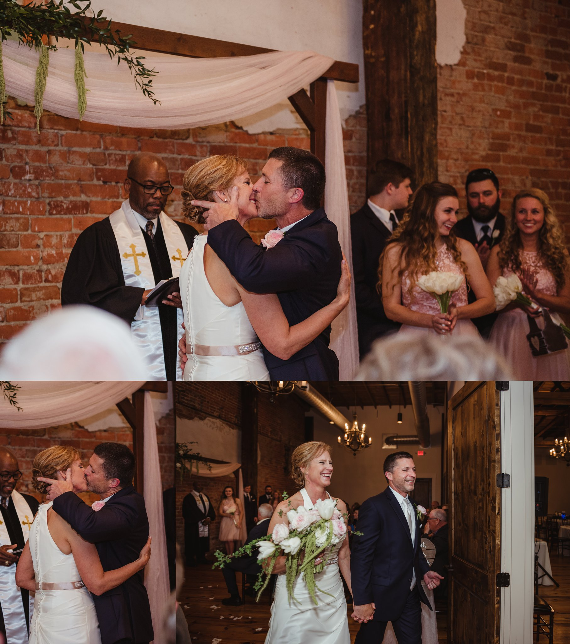 The bride and groom share their first kiss as husband and wife at their wedding ceremony in Youngsville, NC, images taken by Rose Trail Images.