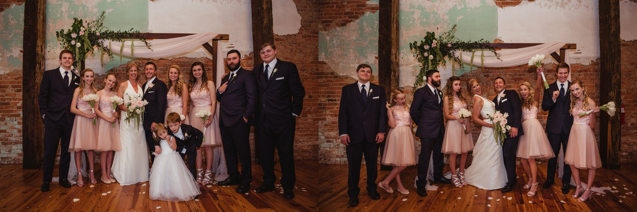 The bride and groom pose for Rose Trail Images with their kids and granddkids after their wedding ceremony at Cross and Main in Youngsville, NC.