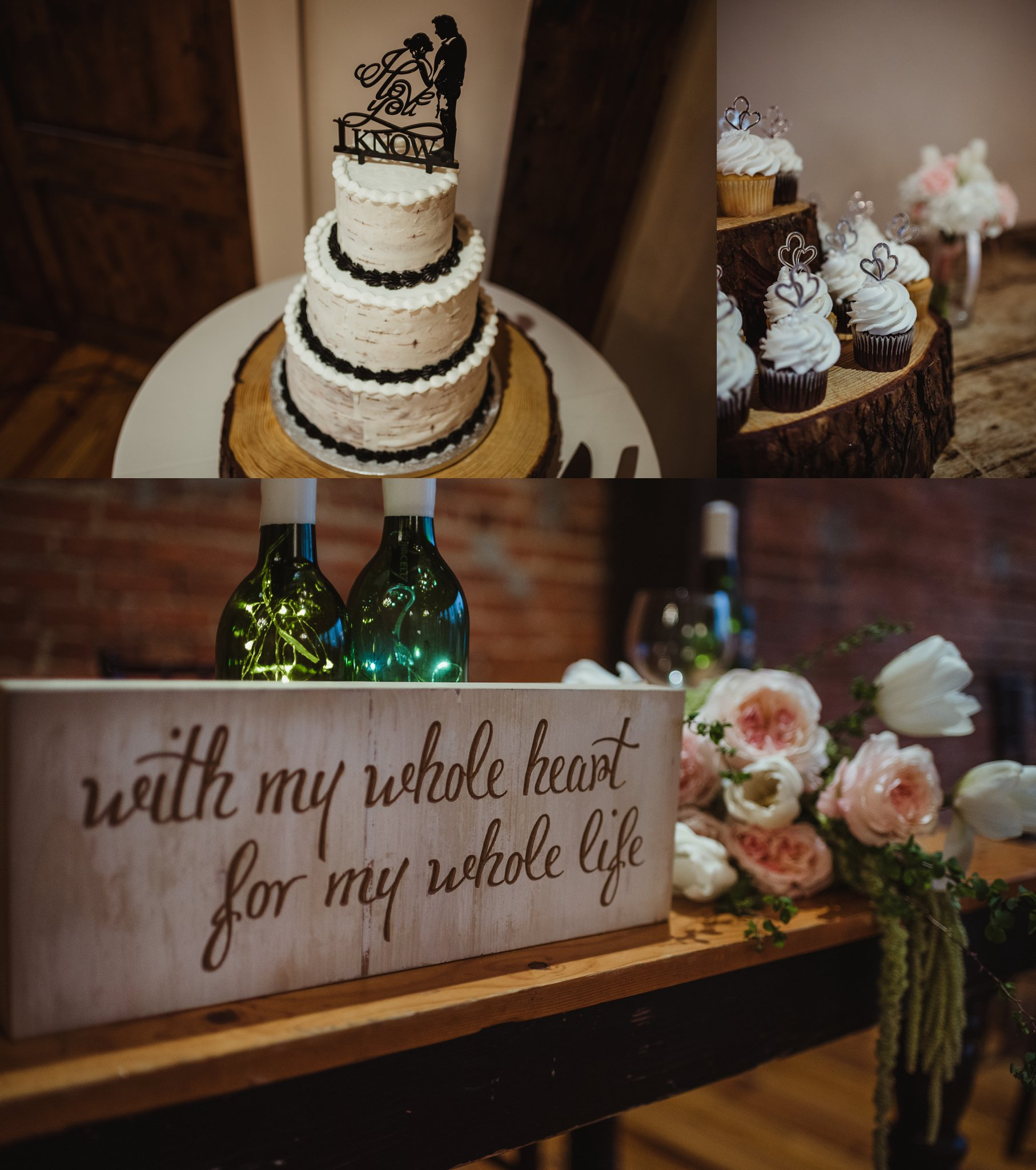 Wedding details at their reception include cake with a Star Wars topper, cupcakes, and homemade wooden signs at Cross and Main in Youngsville, NC, images taken by Rose Trail Images.