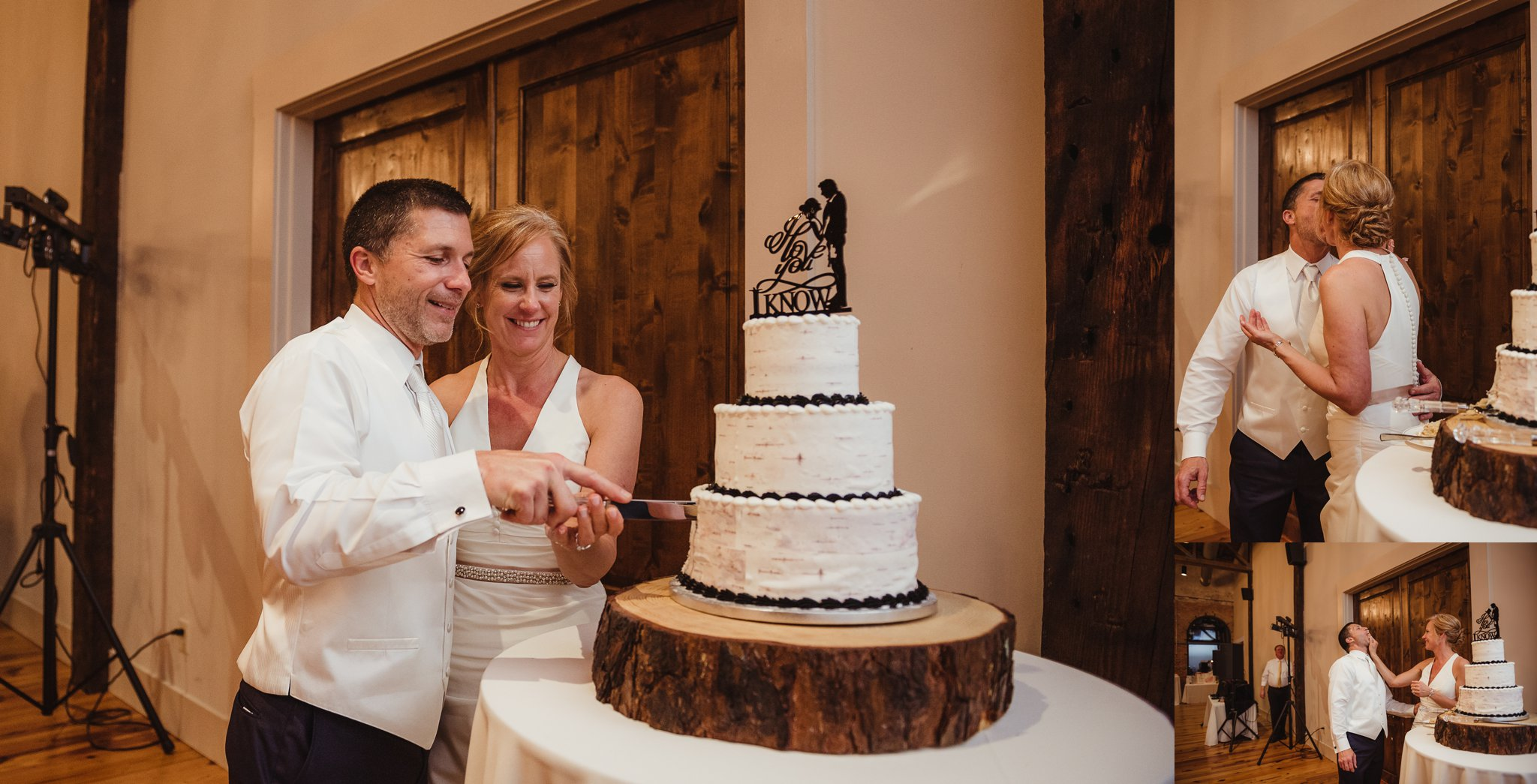 The bride and groom pose for Rose Trail Images while cutting their wedding cake at their reception at Cross and Main in Youngsville, NC.