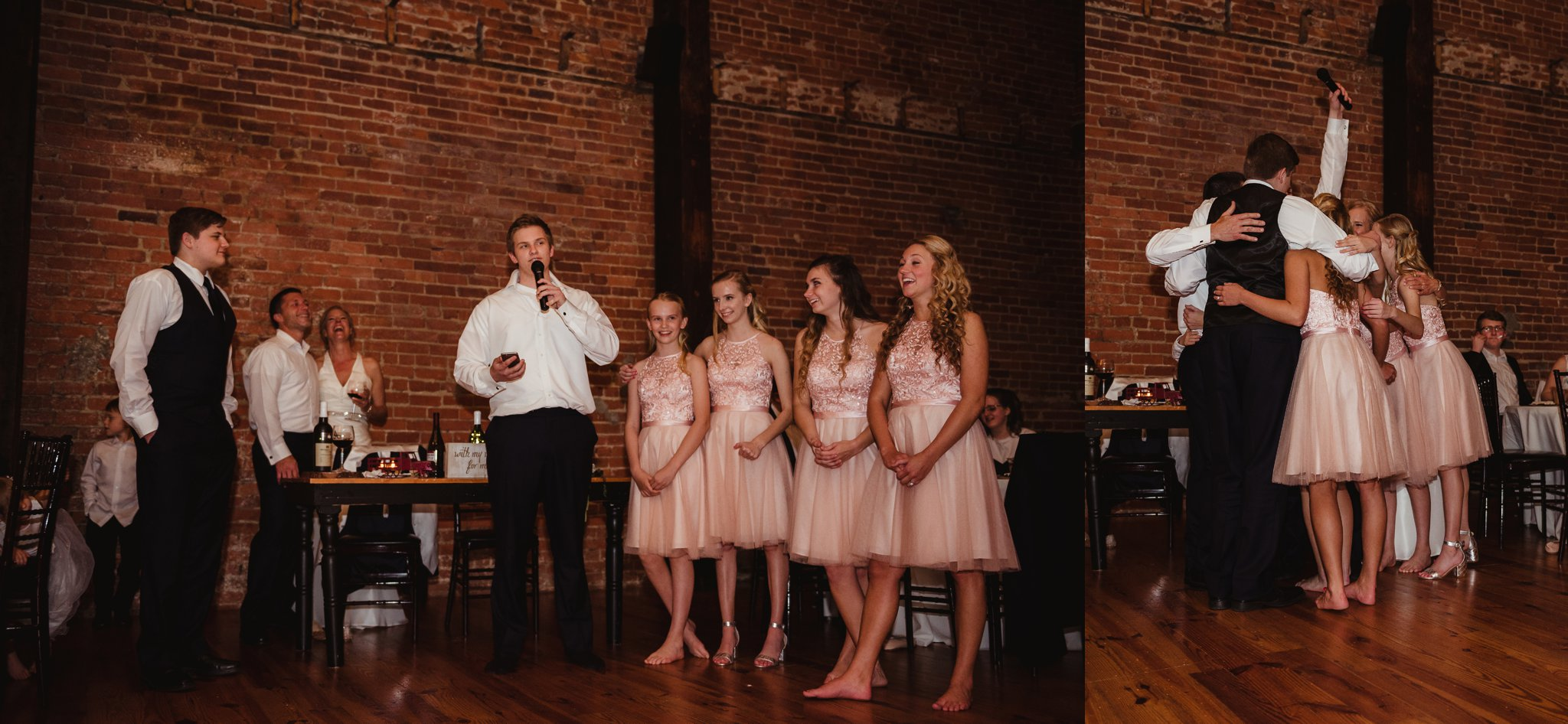 The family made special toasts and had a group hug at their parents' wedding reception at Cross and Main in Youngsville, NC, images taken by Rose Trail Images.