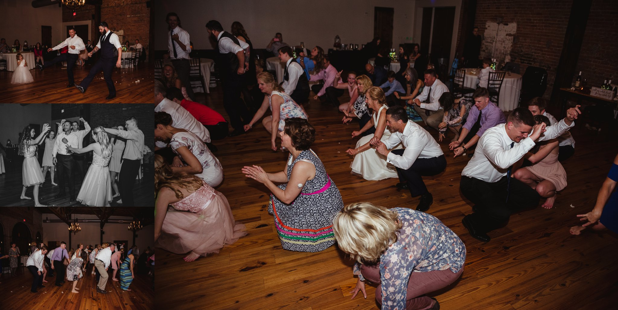 Guests enjoy dancing for the camera of Rose Trail Images at the wedding reception at Cross and Main in Youngsville, NC.