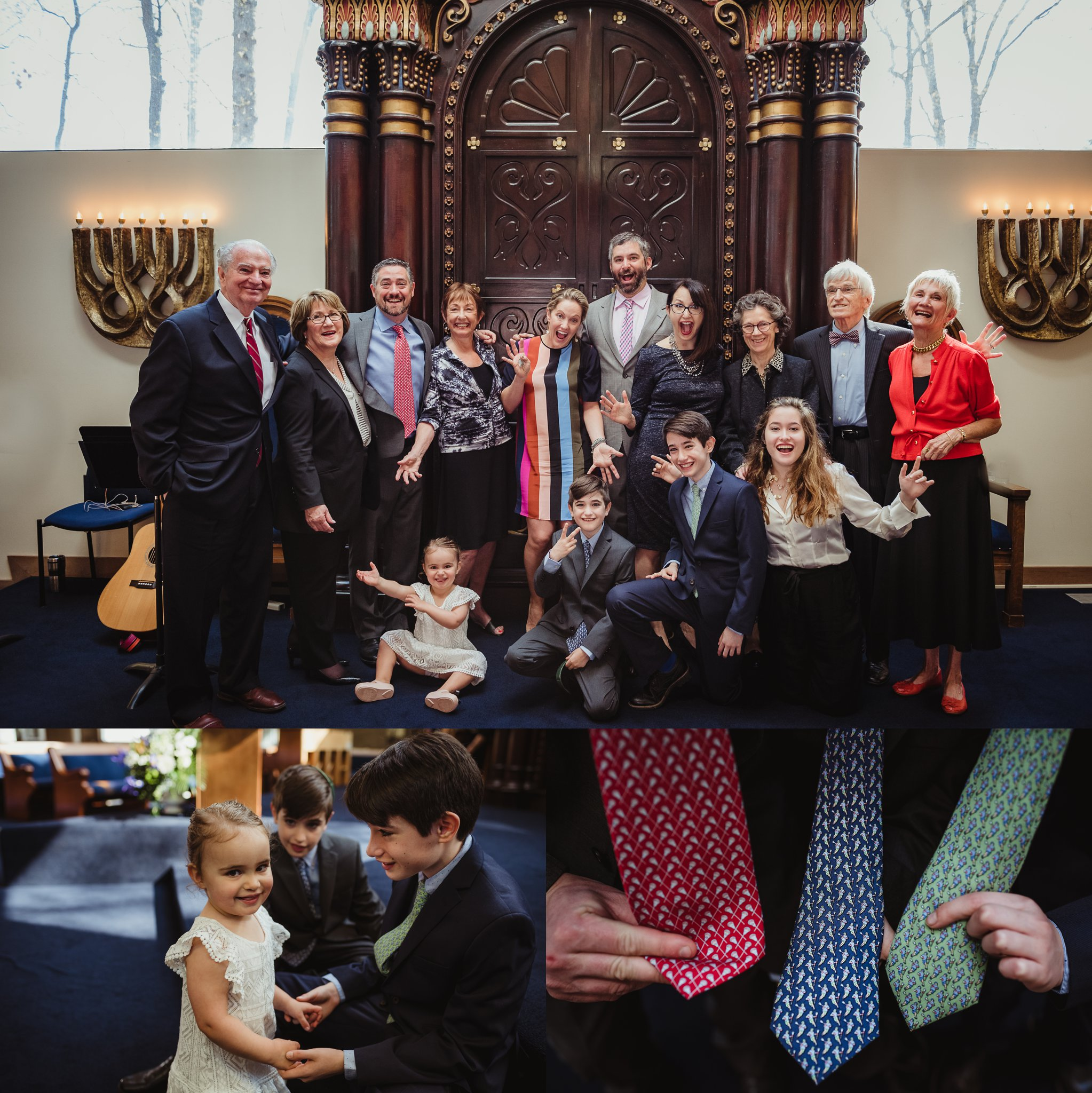 The mitzvah boy posed on the bema with his family for pictures with Rose Trail Images and showed off their lacrosse ties at Temple Beth Or in Raleigh, North Carolina.