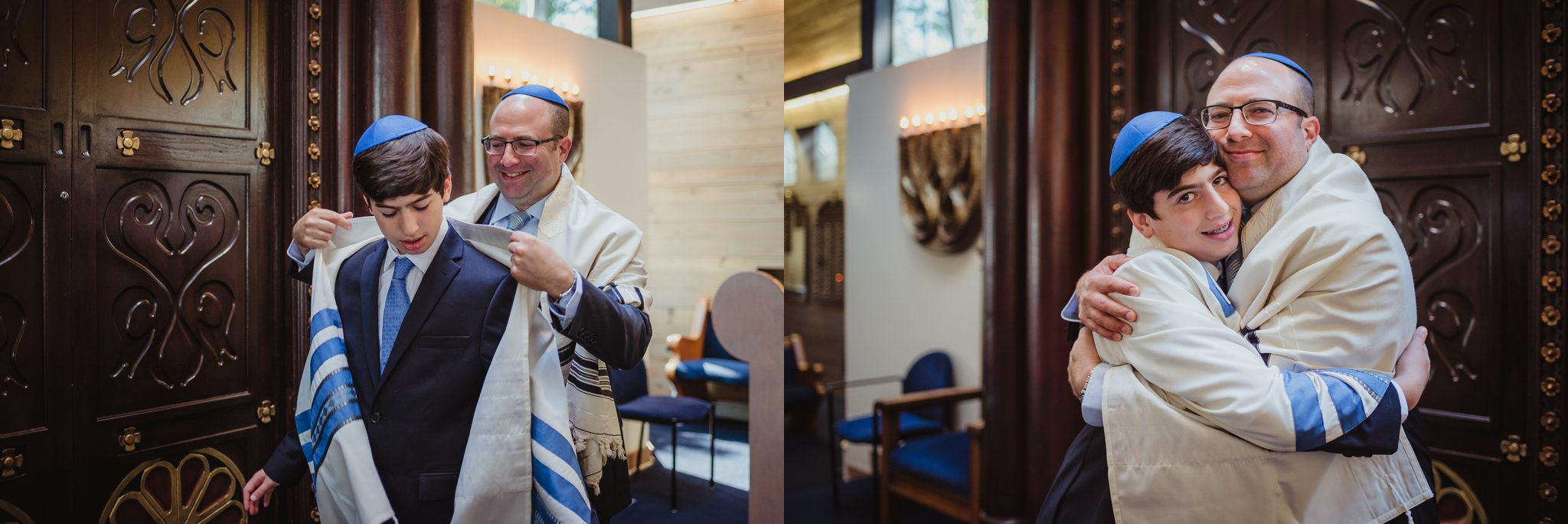 The bar mitzvah boy stands on the bimah with his Dad for Rose Trail Images before his ceremony at Temple Beth Or in Raleigh, North Carolina.