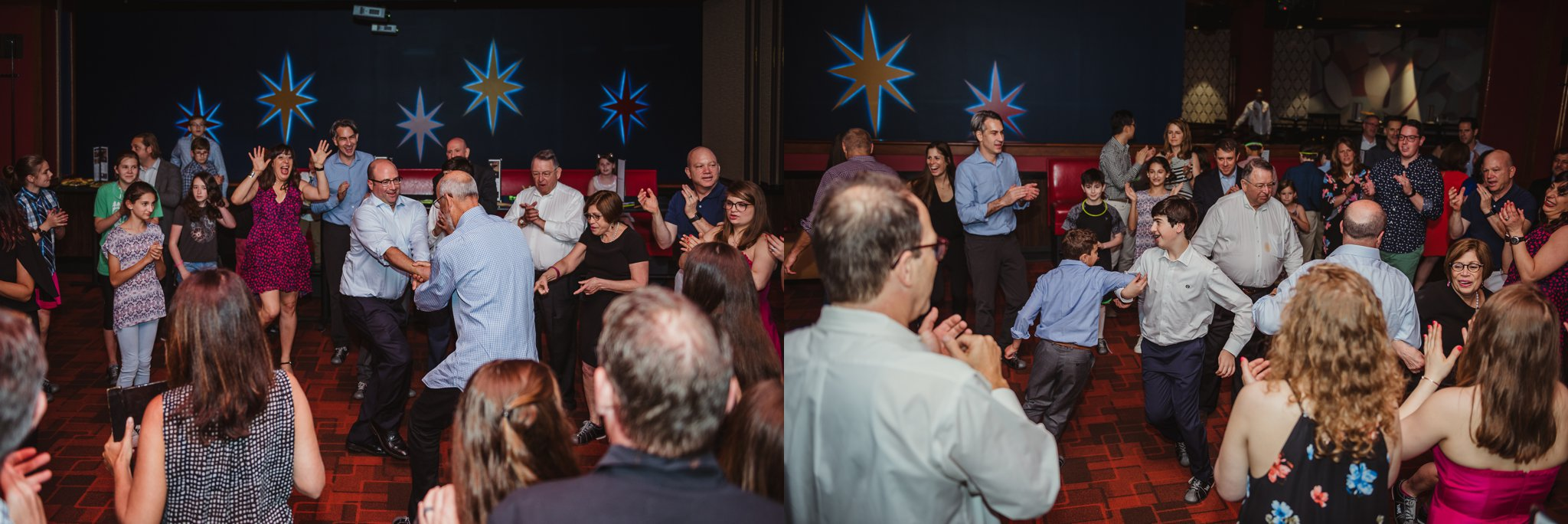 Friends and family dance together at the mitzvah reception at Kings in Raleigh, North Carolina, images by Rose Trail Images.