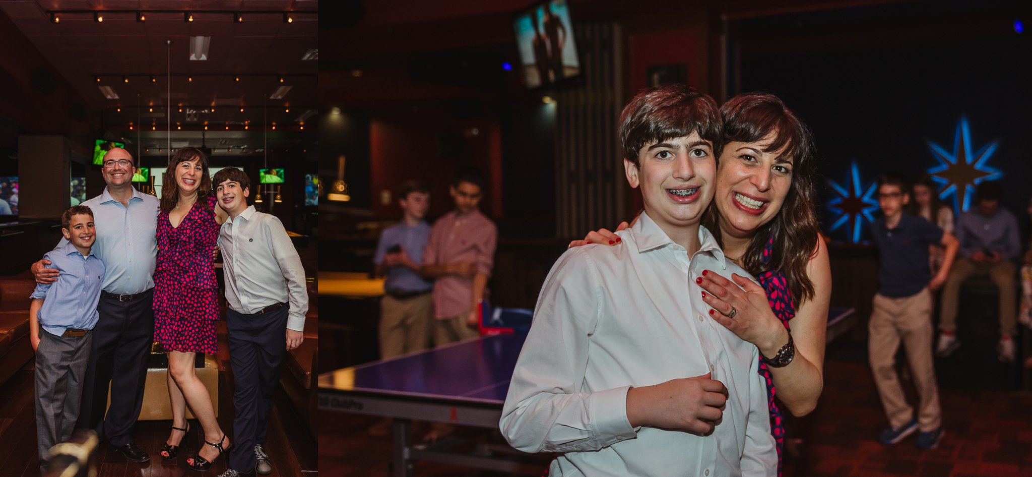 The family smile for Rose Trail Images at the mitzvah reception at Kings in Raleigh, North Carolina.