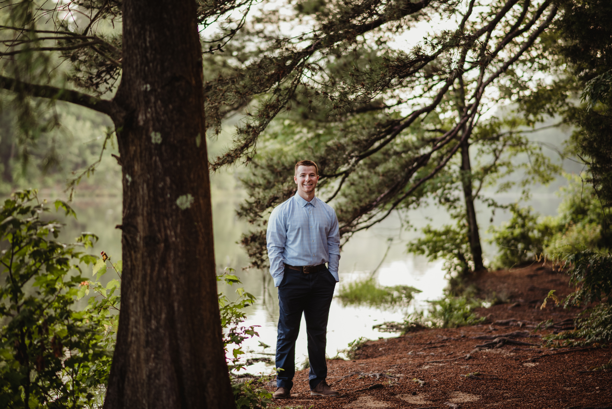 Harrison had his senior portraits done in the woods at Durant Nature Preserve in Raleigh, NC by Rose Trail Images.