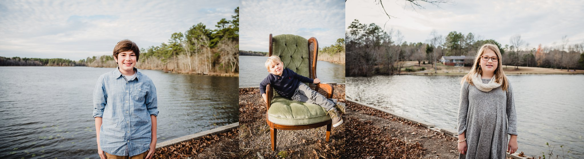 These kiddos got their family pictures taken in front of Lake Myra in Wendell, NC with Rose Trail Images.