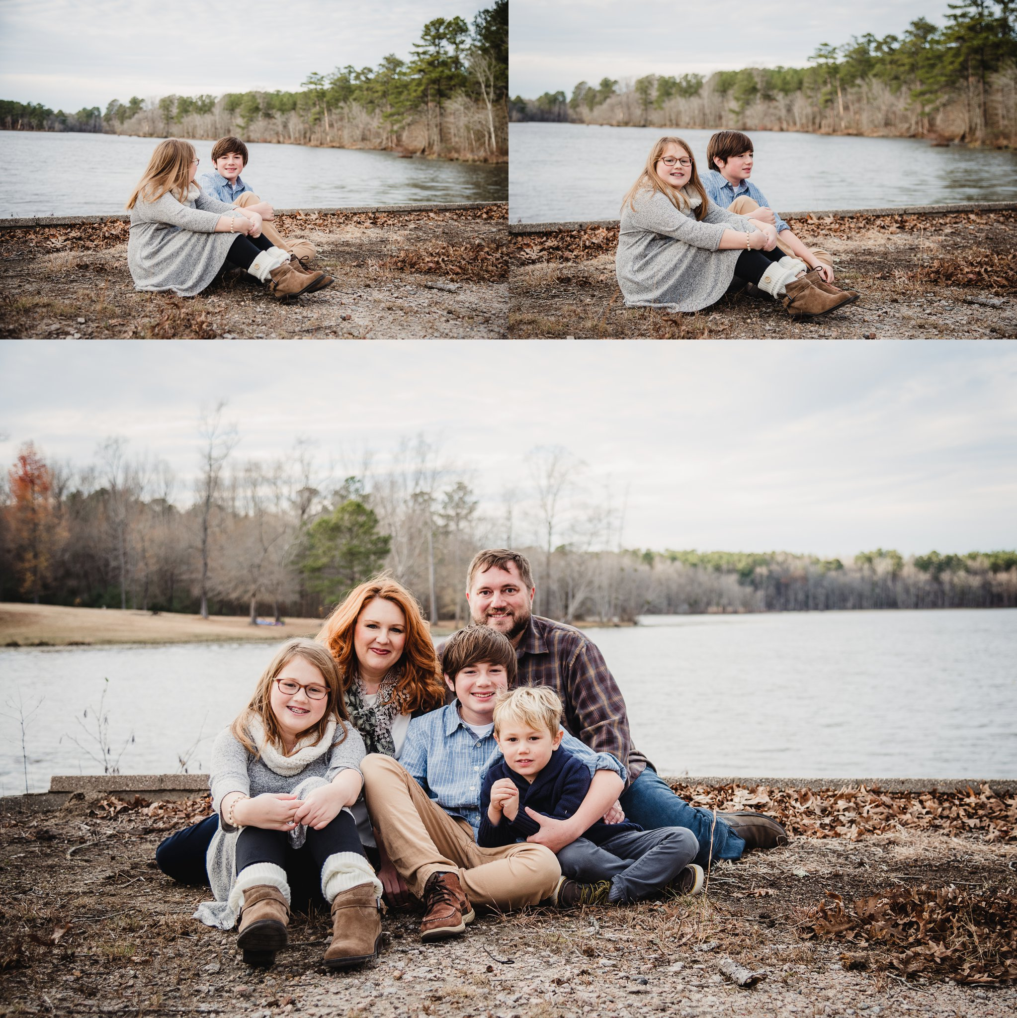 This family of five sat in front of Lake Myra in Wendell, NC for their family pictures with Rose Trail Images.