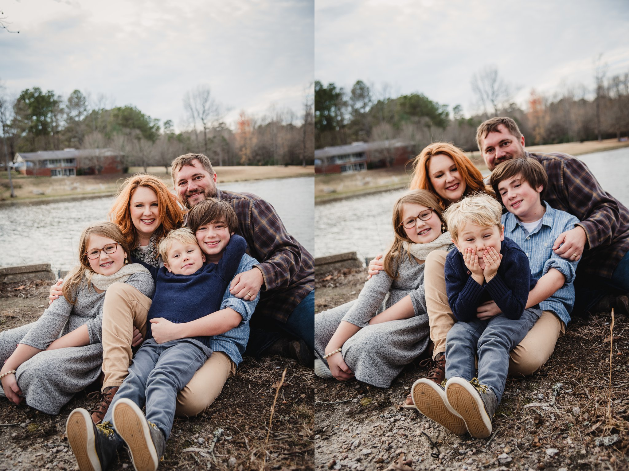 This family of five hugged tightly together in front of Lake Myra in Wendell, NC for their family pictures with Rose Trail Images.