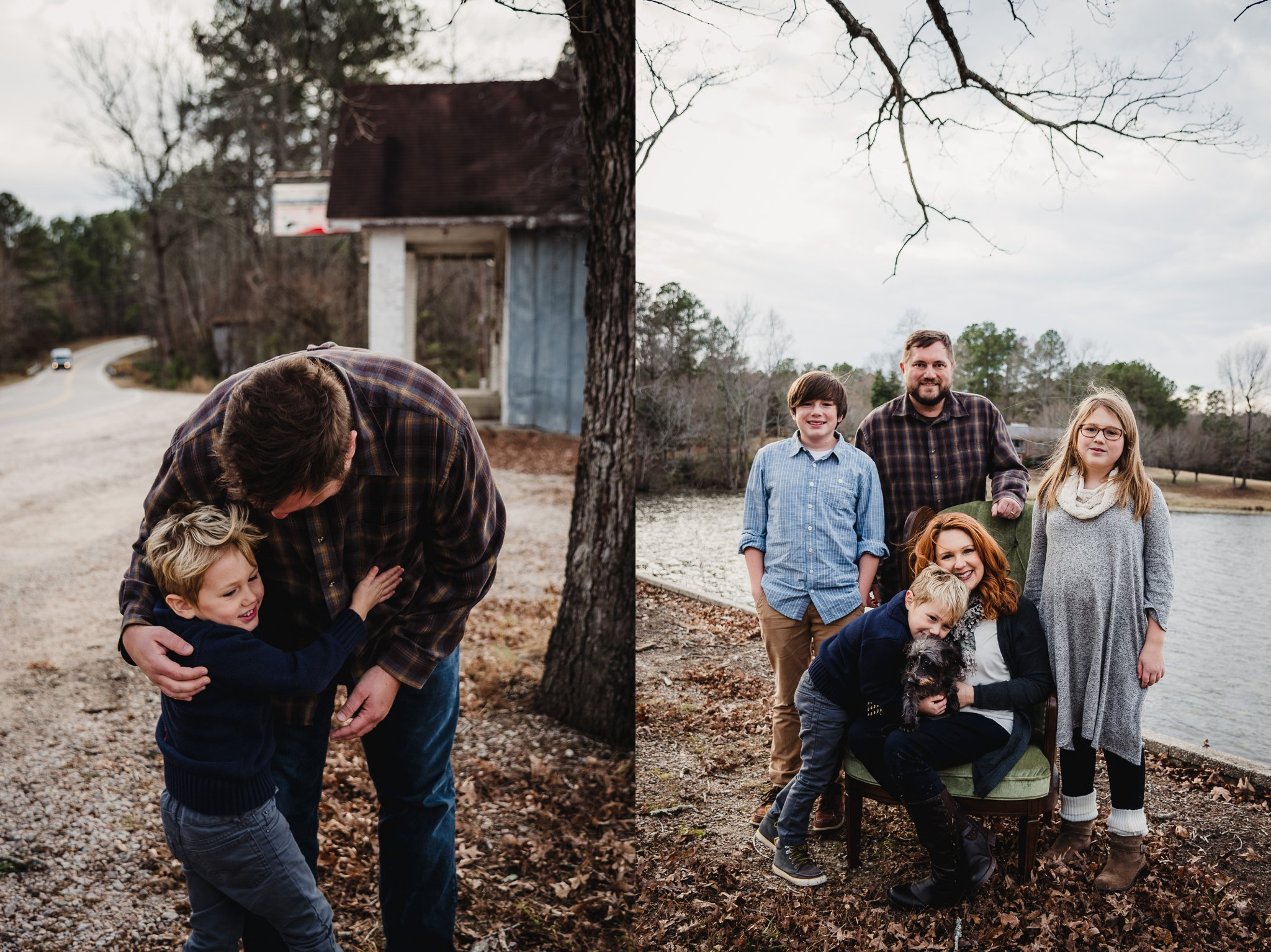 This kiddo hugged his dad and his whole family in front at Lake Myra in Wendell, NC during their family pictures with Rose Trail Images.
