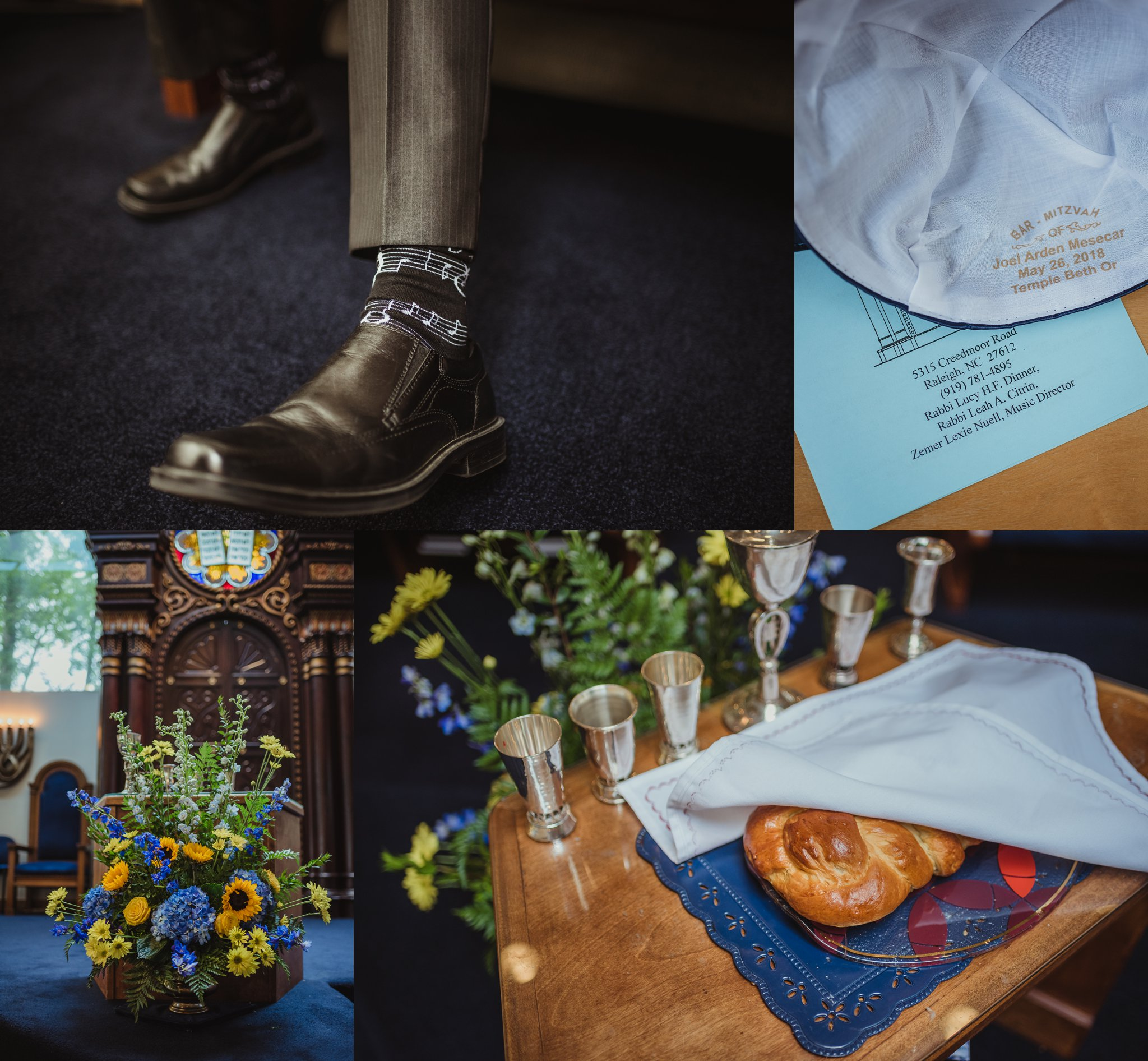 Details of the mitzvah celebration at Temple Beth Or in Raleigh, North Carolina, such as the ark, kippah, challah bread, and music-themed socks, images by Rose Trail Images.
