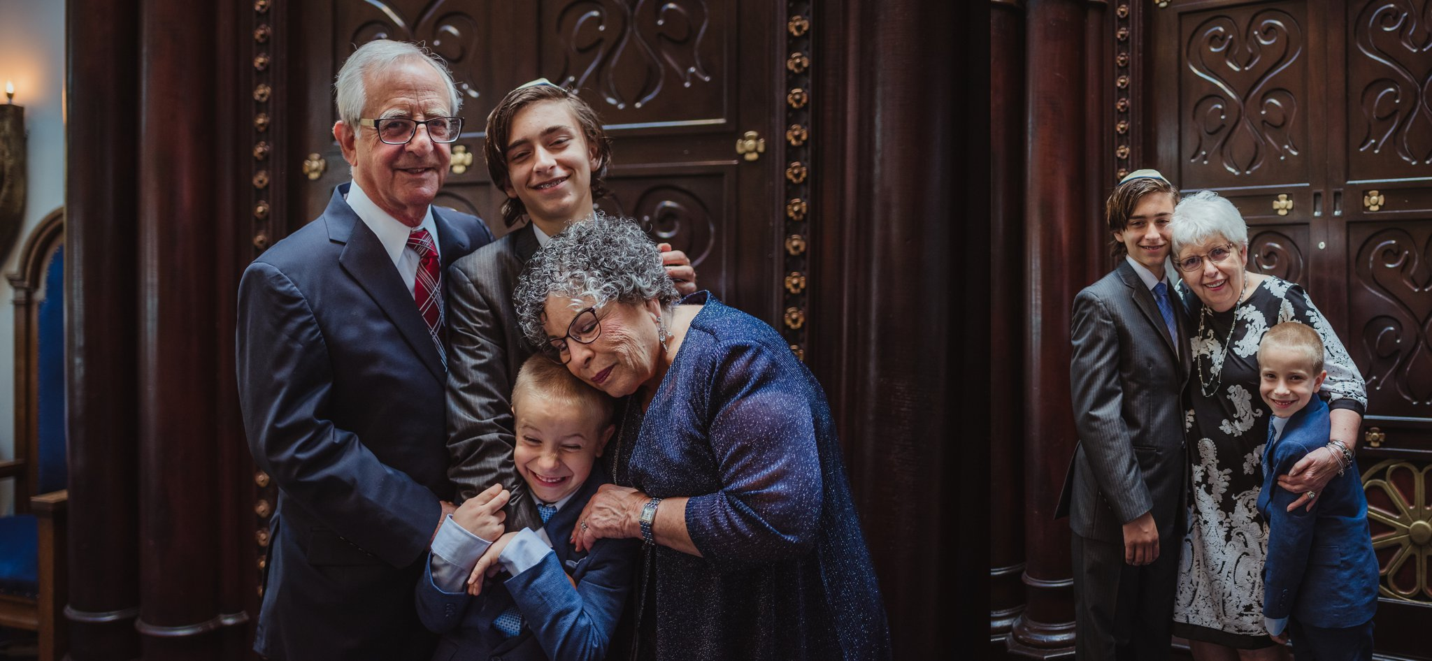 The bar mitzvah boy poses with his grandparents for Rose Trail Images at Temple Beth Or in Raleigh, North Carolina.