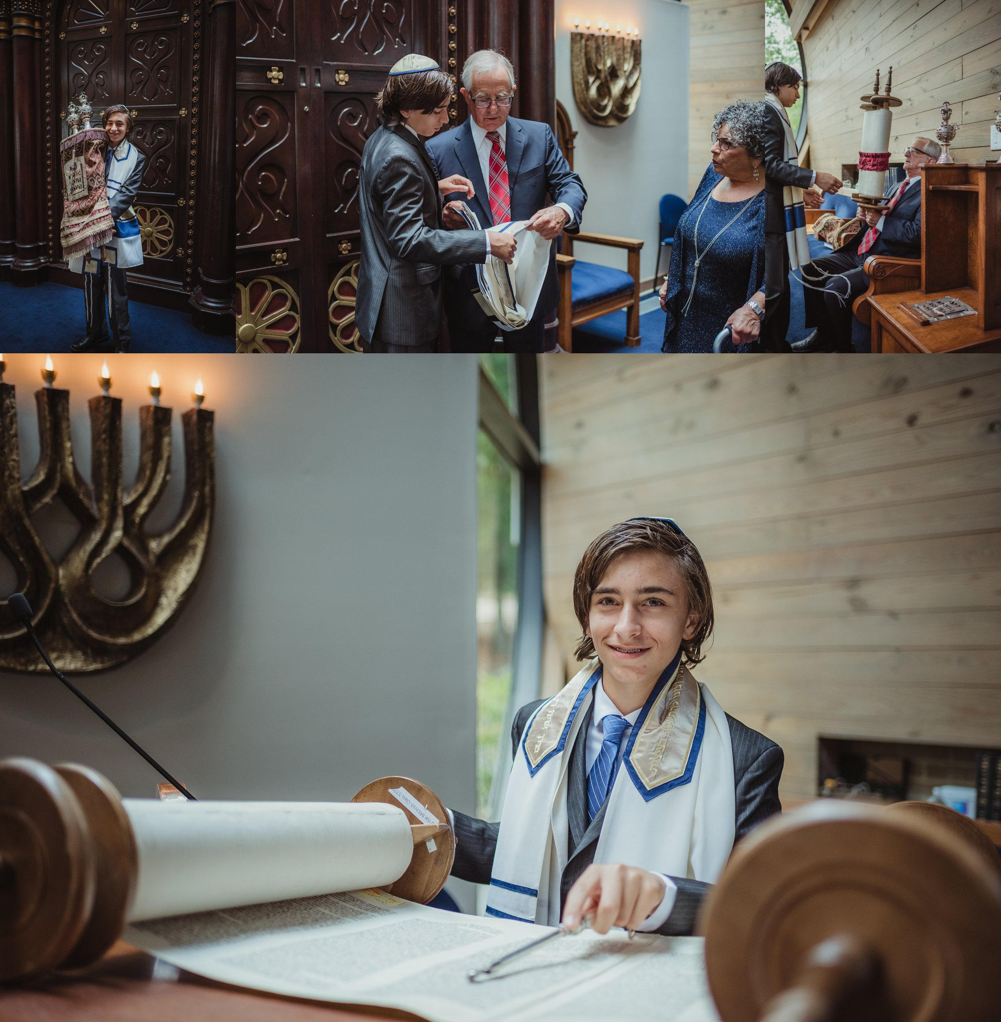 The bar mitzvah boy poses with the Torah for Rose Trail Images at Temple Beth Or in Raleigh, North Carolina.